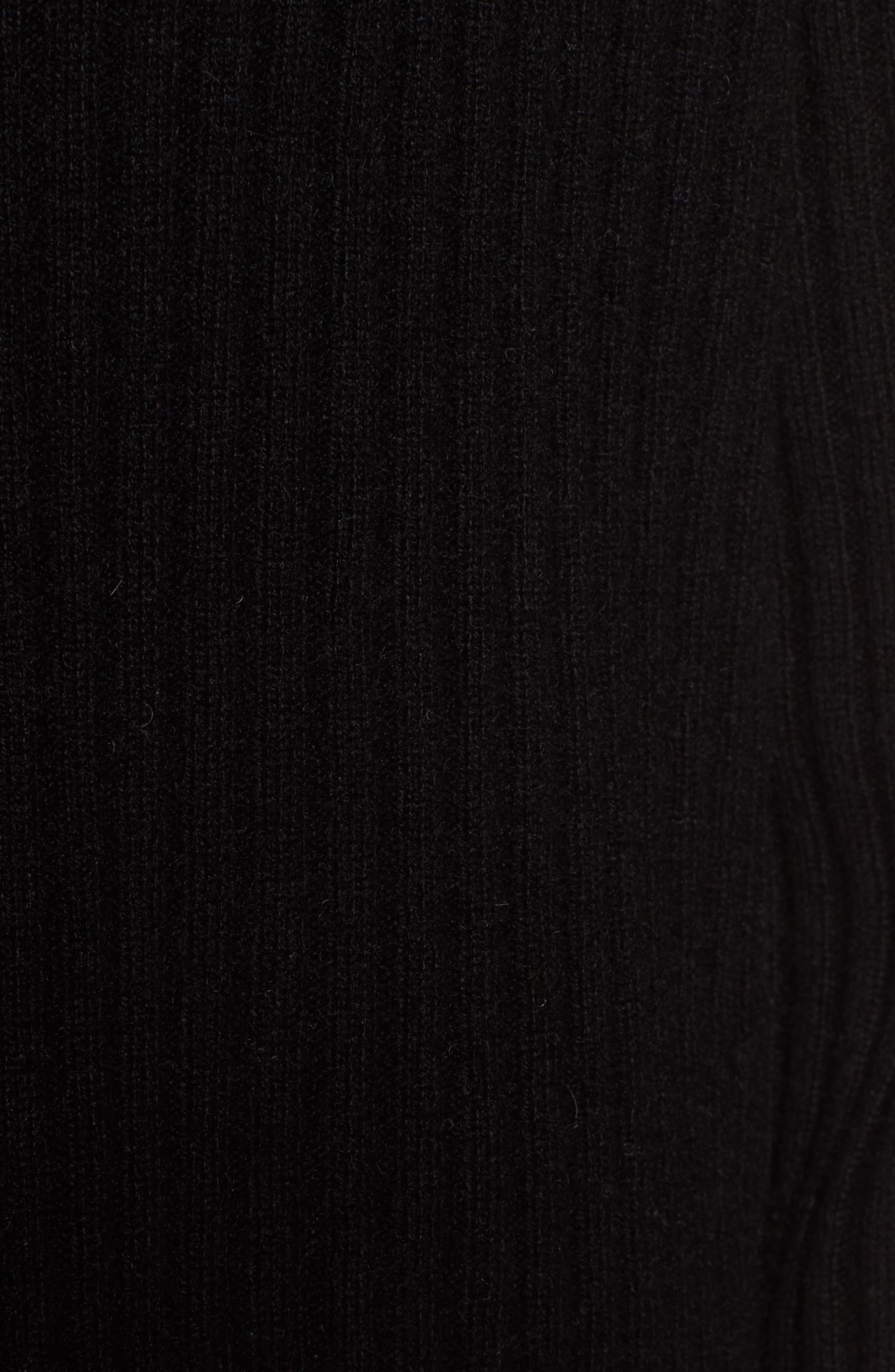 Rib Knit Cashmere Cardigan,                             Alternate thumbnail 3, color,                             Black