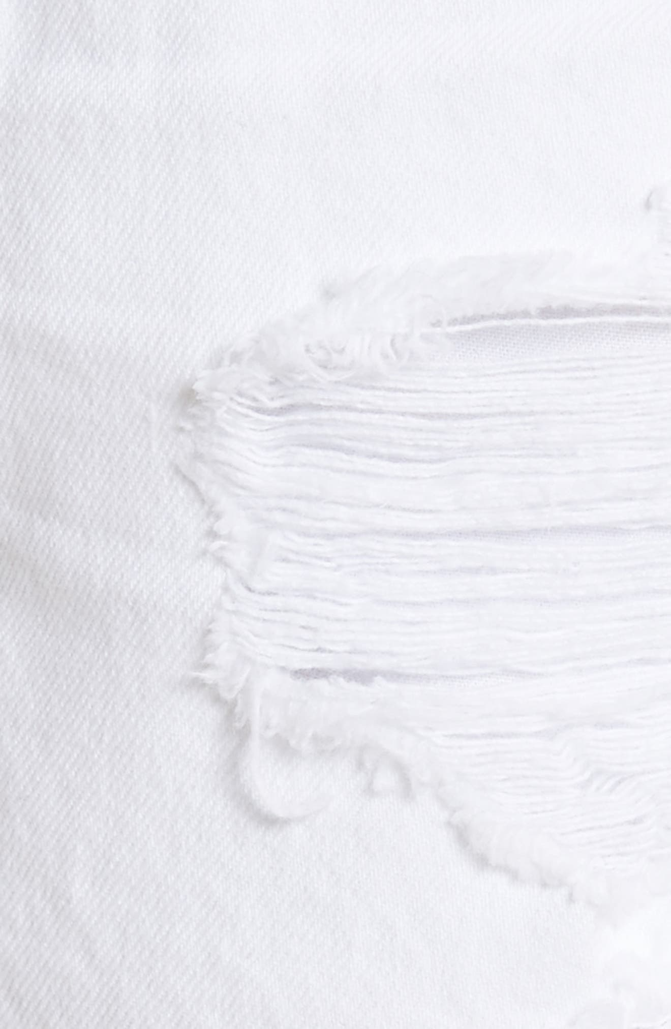 Bite White Ripped Denim Shorts,                             Alternate thumbnail 5, color,                             Bleached Destroy