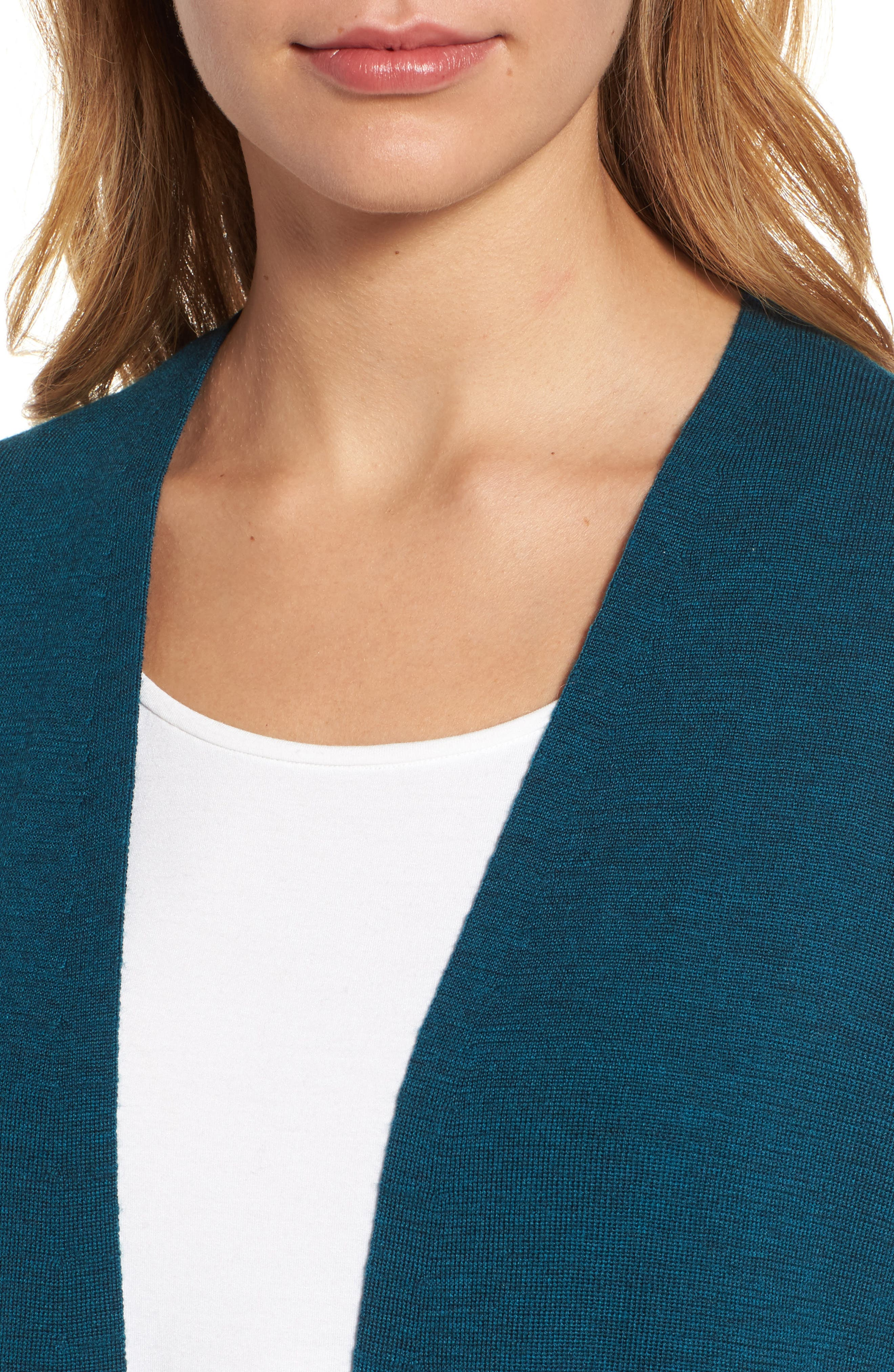 Long Merino Wool Cardigan,                             Alternate thumbnail 4, color,                             Blue Spruce