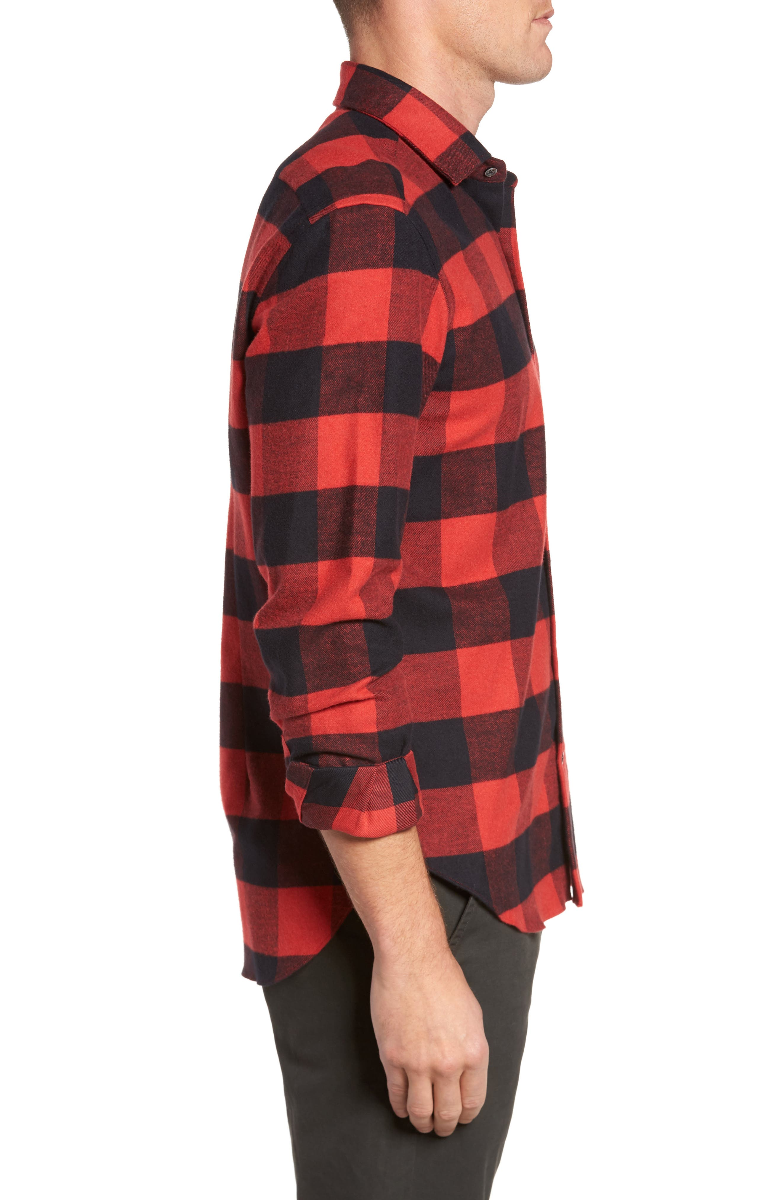 Slim Fit Buffalo Plaid Sport Shirt,                             Alternate thumbnail 3, color,                             Red