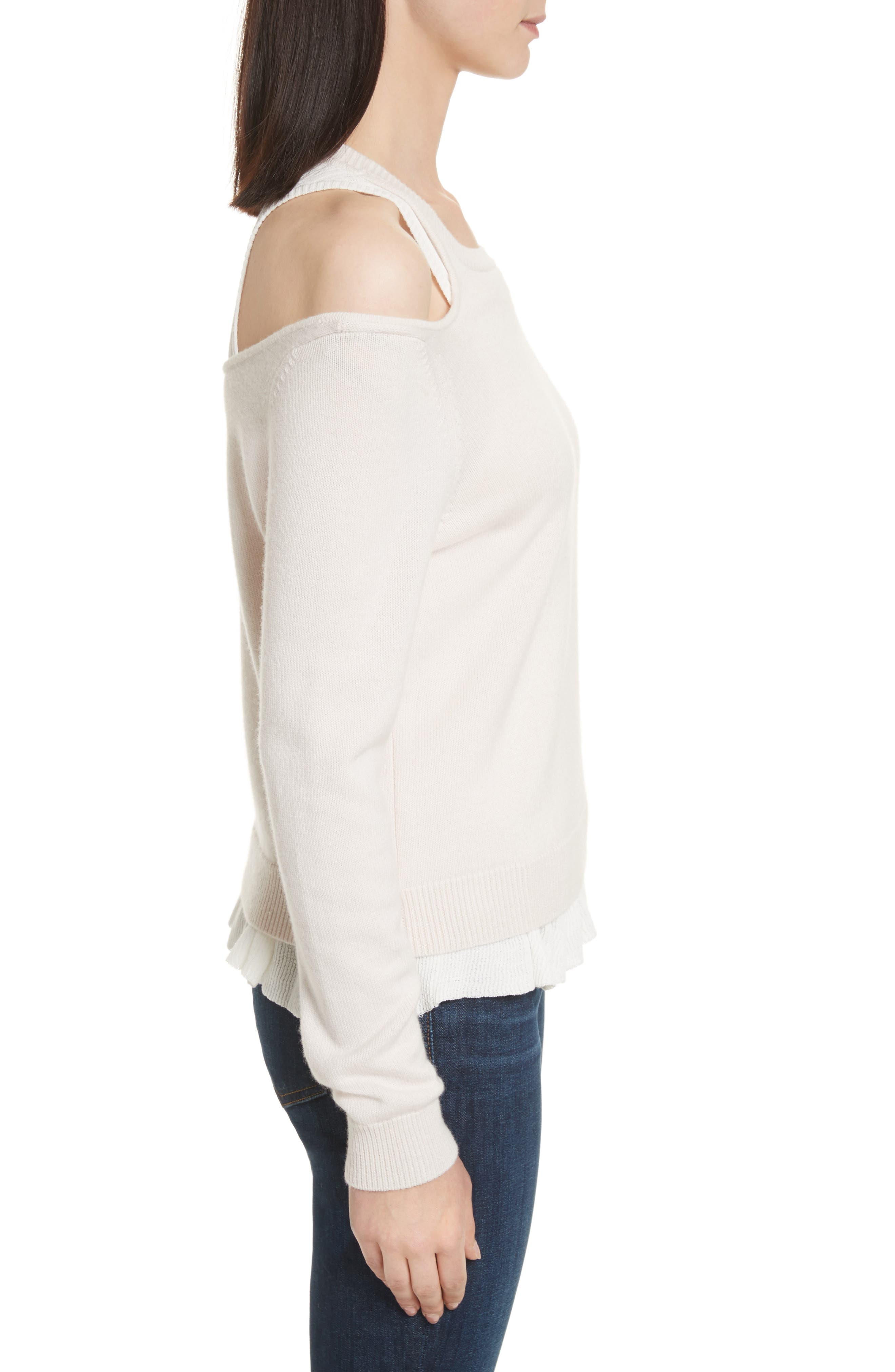 Layered Cold Shoulder Sweater,                             Alternate thumbnail 3, color,                             Ballet