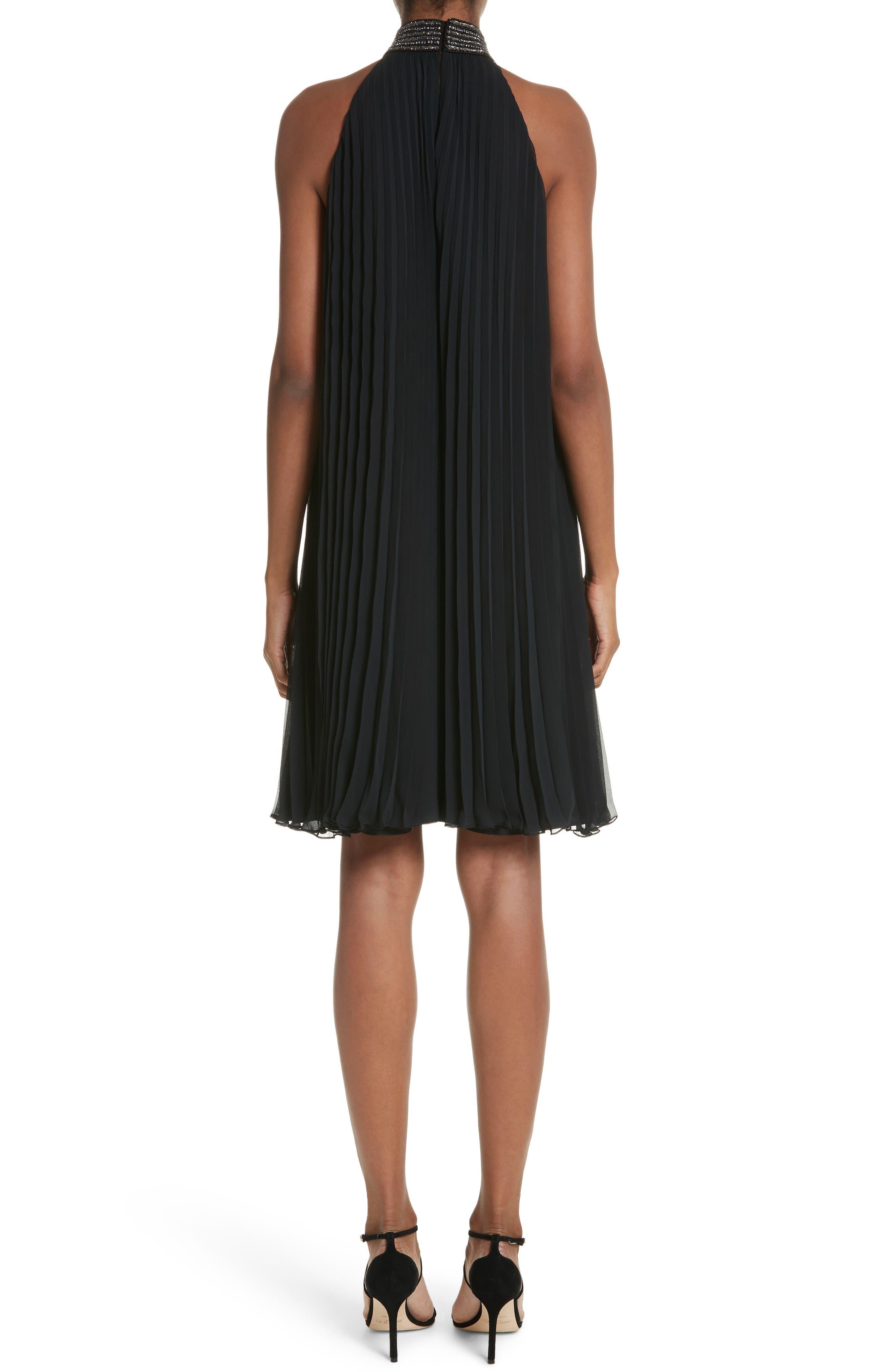 Carmen Marc Valvo Embellished Pleat Trapeze Dress,                             Alternate thumbnail 2, color,                             Black