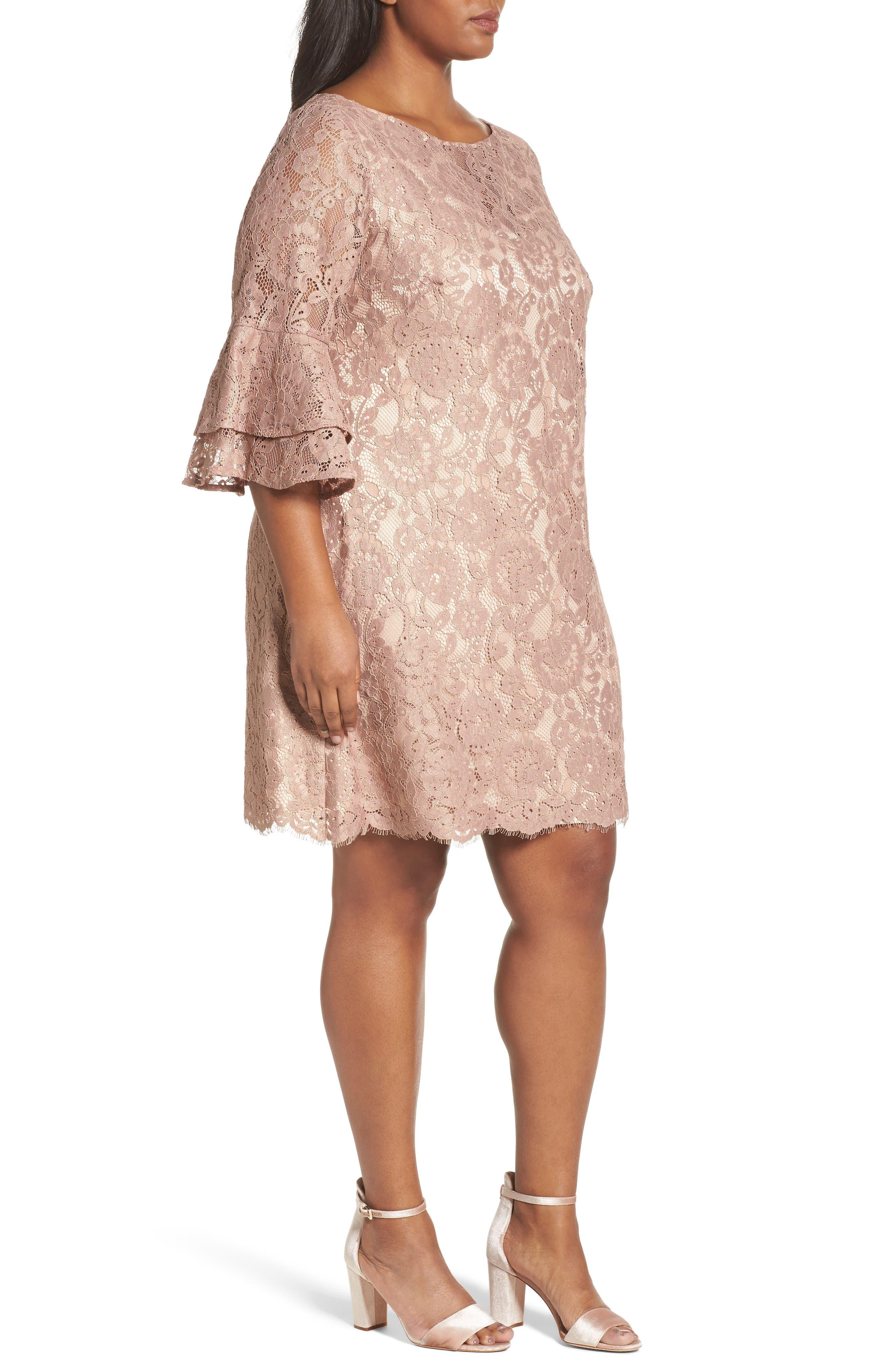 Ruffle Cuff Lace Shift Dress,                             Alternate thumbnail 3, color,                             Blush