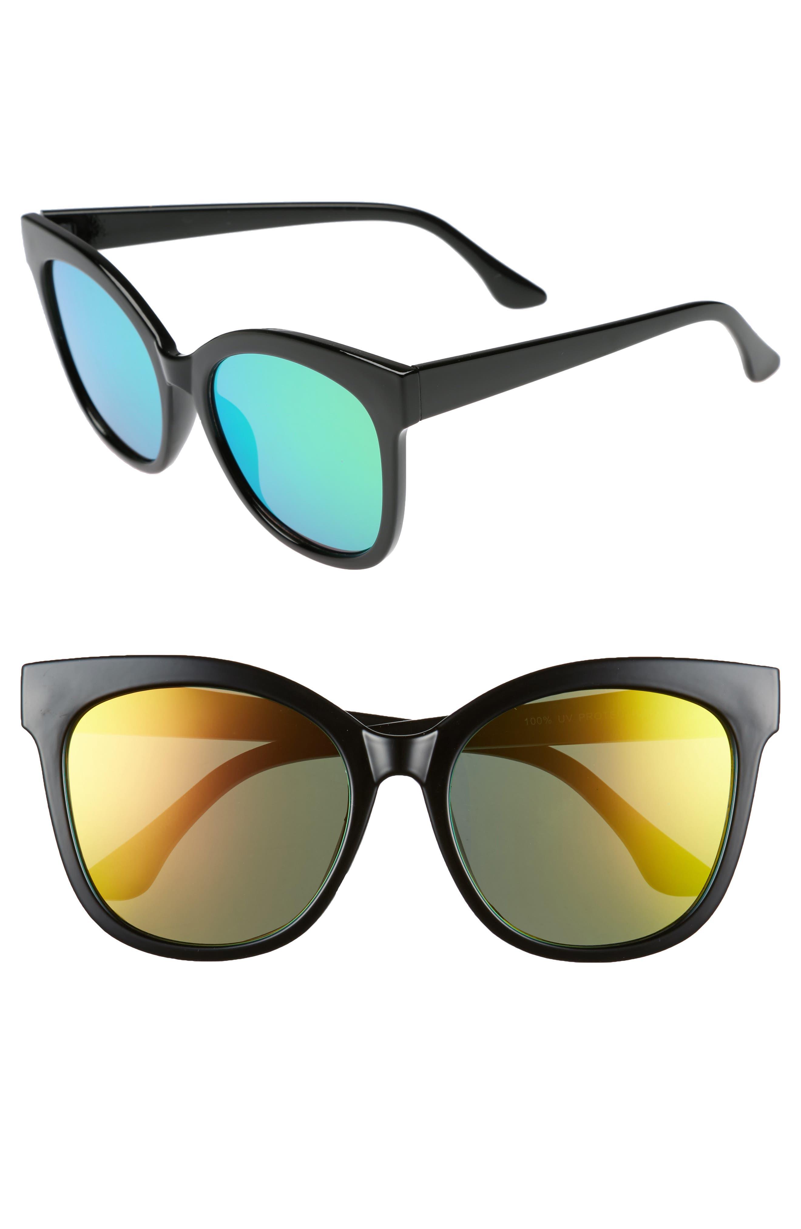 55mm Square Sunglasses,                             Main thumbnail 1, color,                             Black/ Pink
