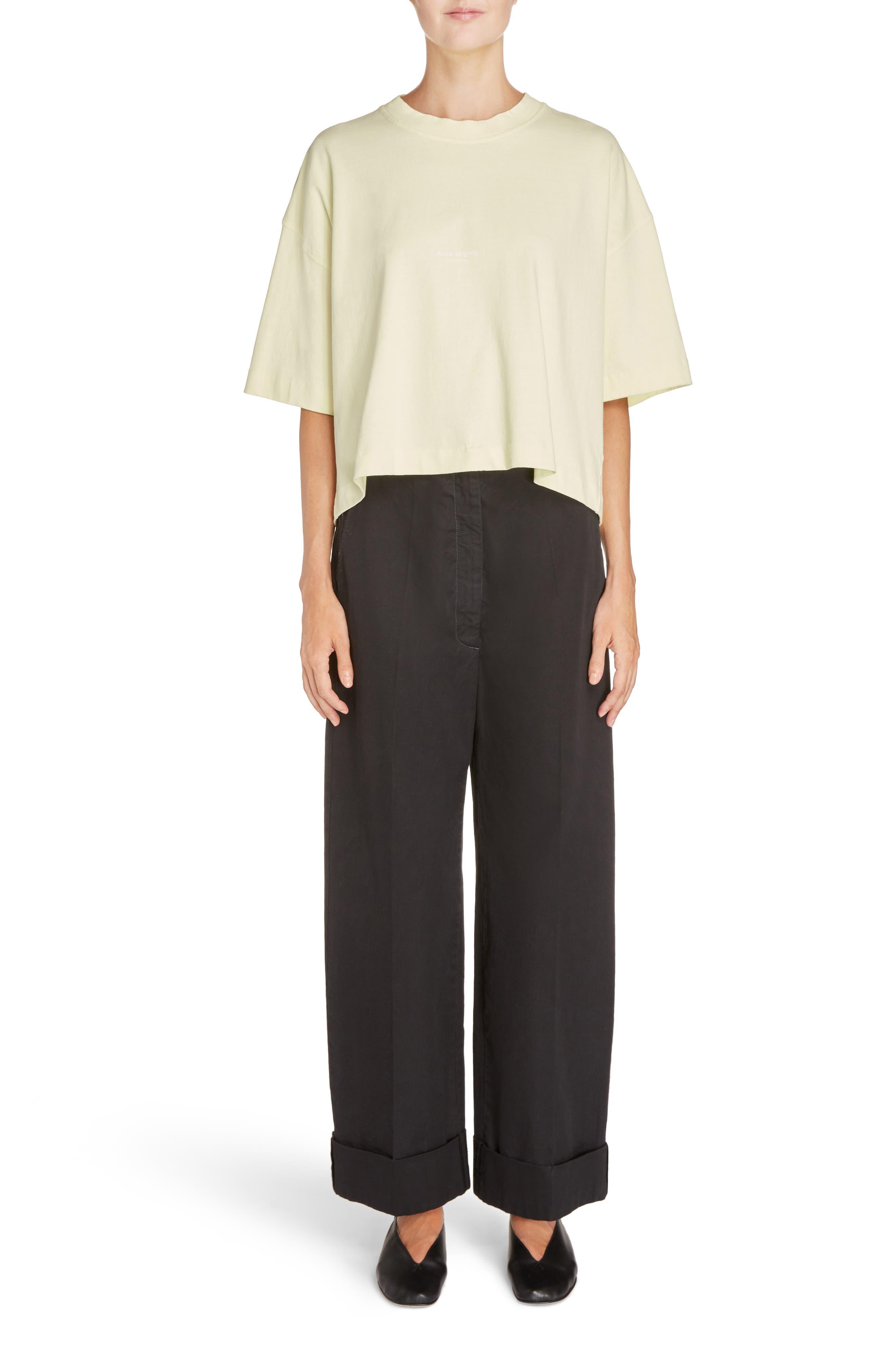 Madya Cuffed Cotton Pants,                             Alternate thumbnail 4, color,                             Black