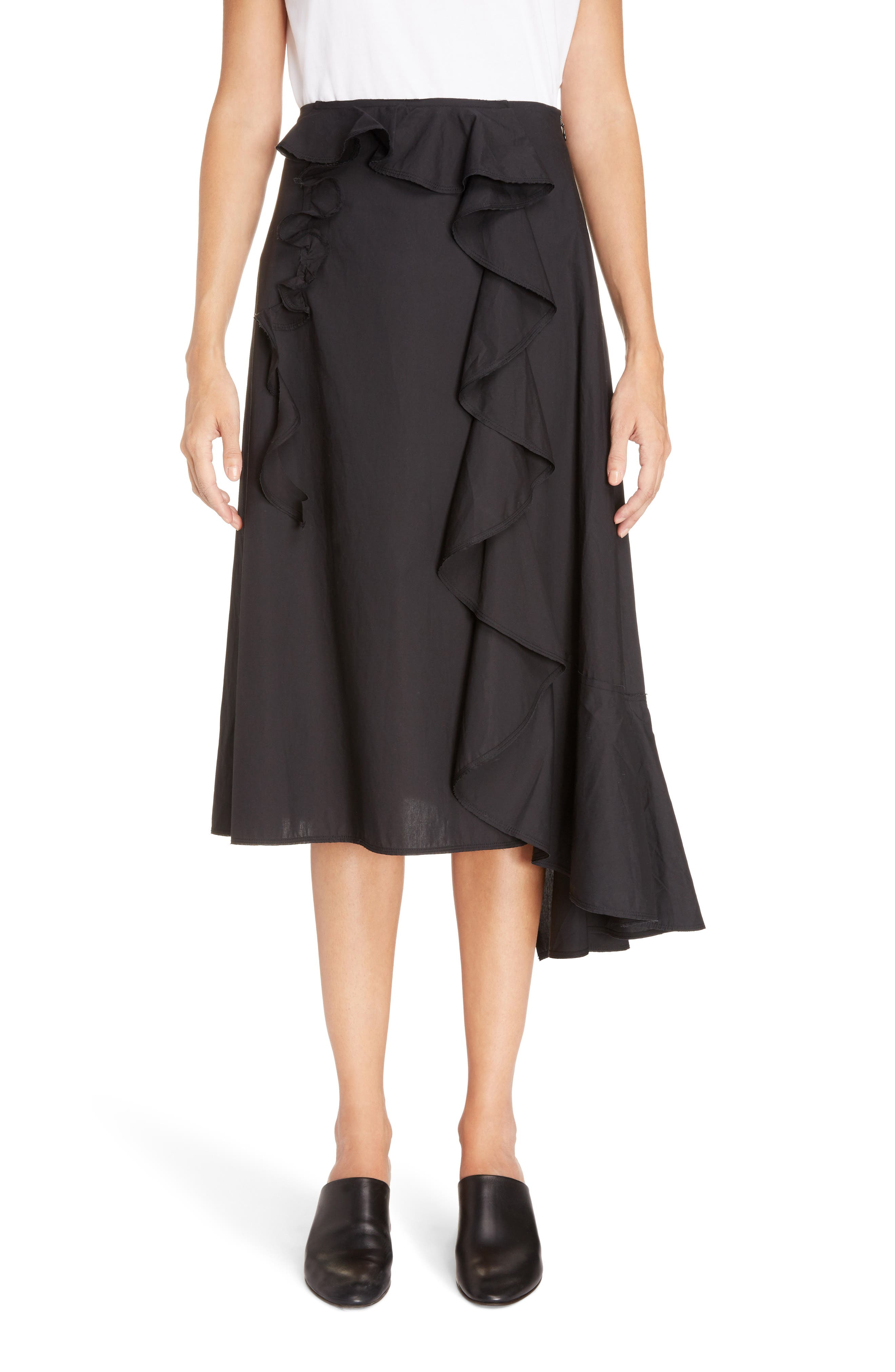 Hamina Ruffle Skirt,                             Main thumbnail 1, color,                             Black