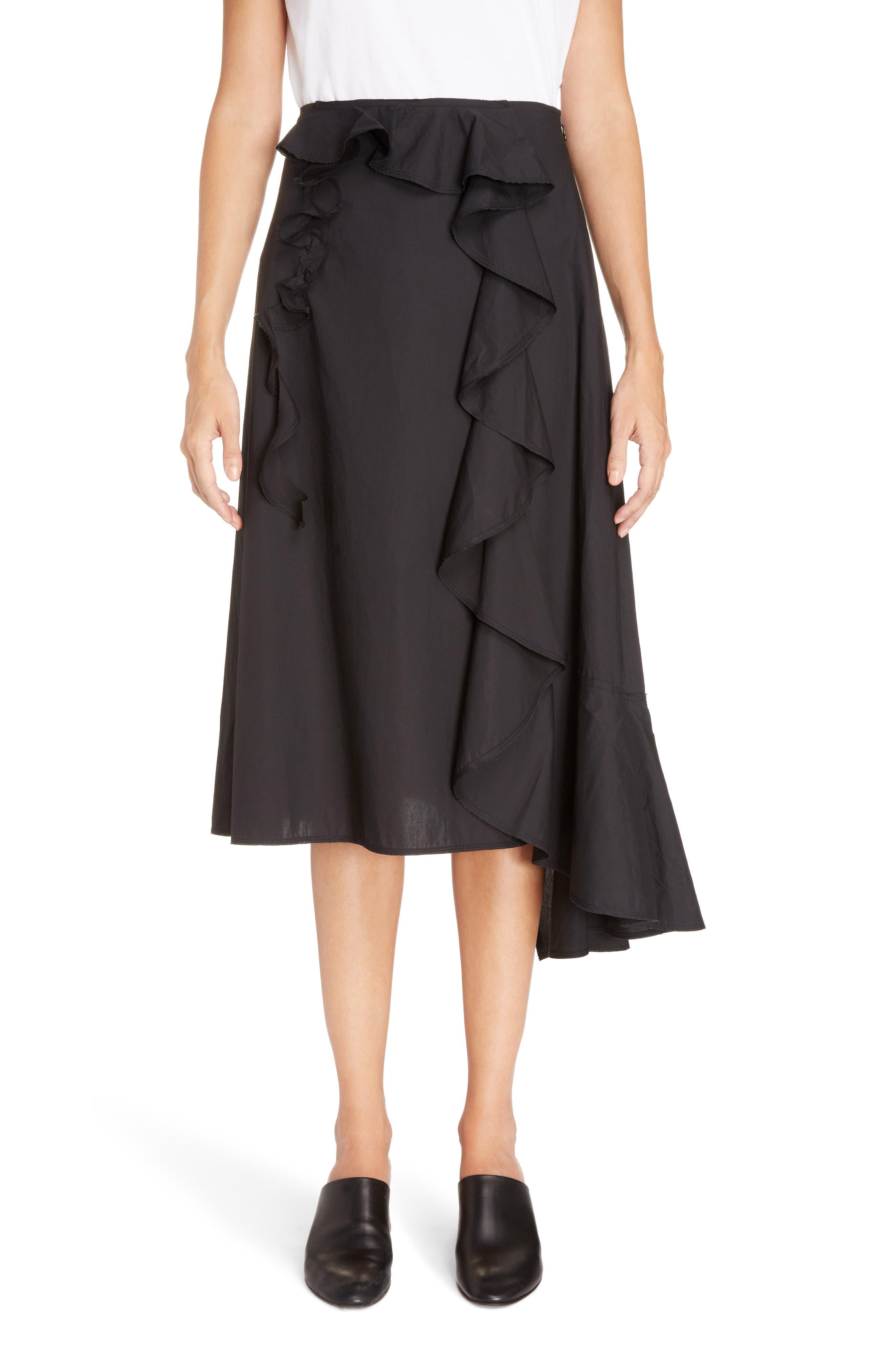 Hamina Ruffle Skirt,                         Main,                         color, Black