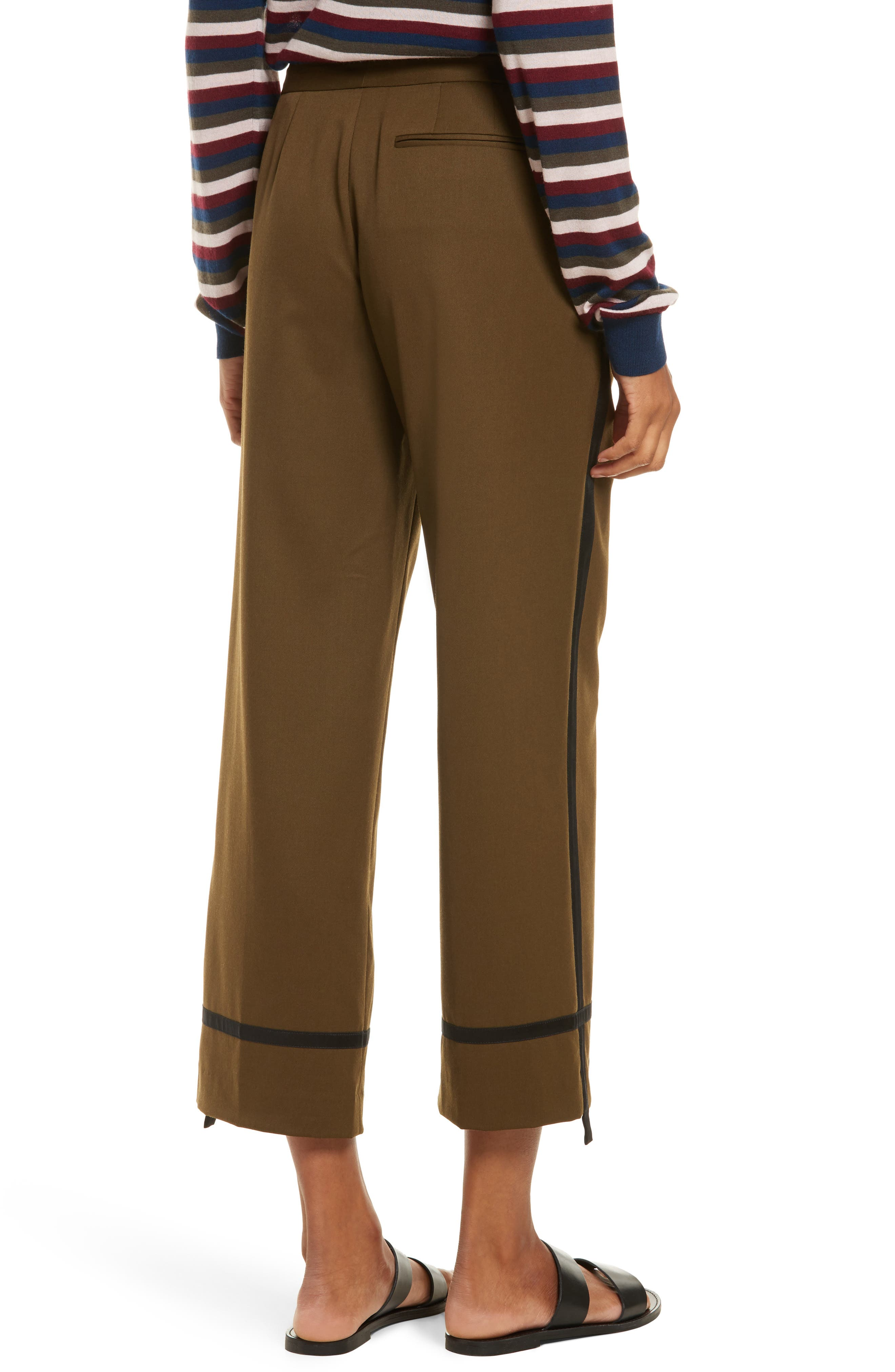 Crop Straight Leg Pants,                             Alternate thumbnail 3, color,                             Olive