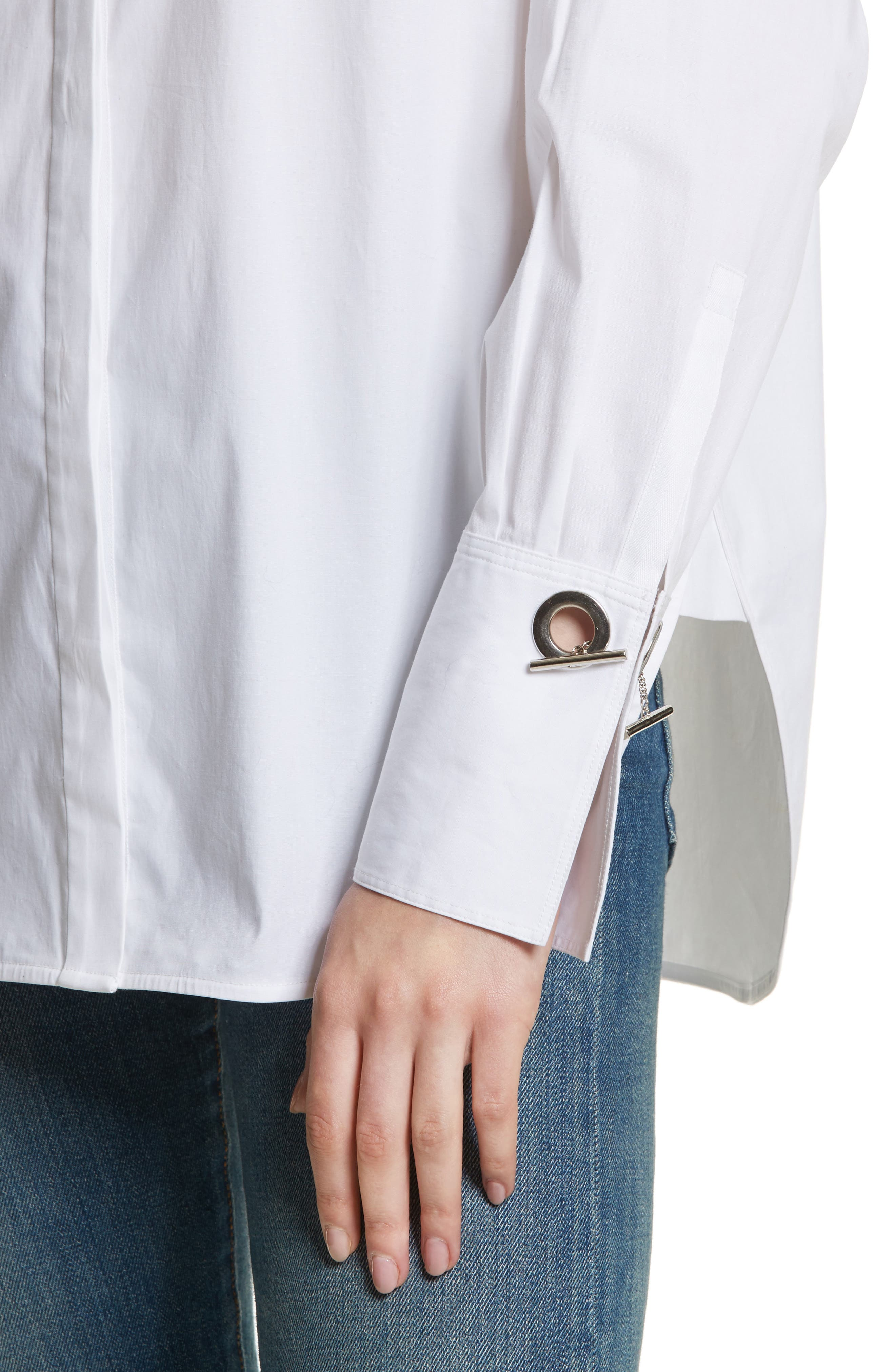 Jasper Stretch Poplin Shirt,                             Alternate thumbnail 4, color,                             White