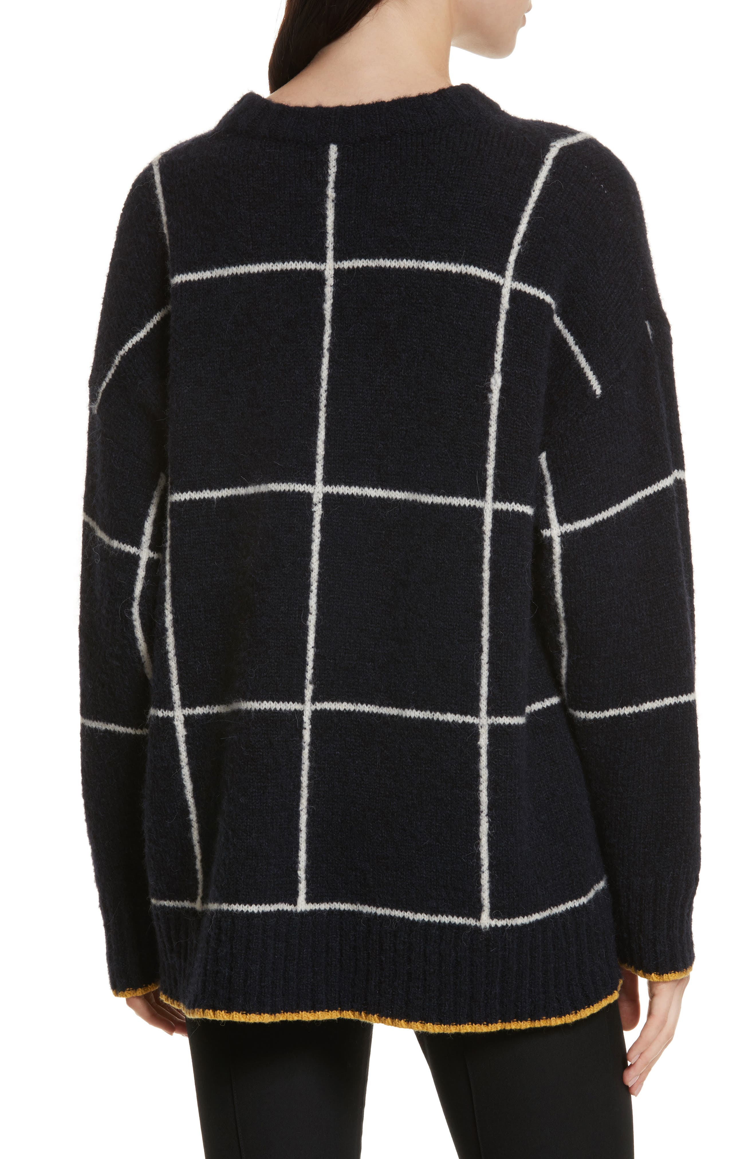 Fionn Windowpane Oversized Sweater,                             Alternate thumbnail 2, color,                             Navy/ Alabaster/ Pollen