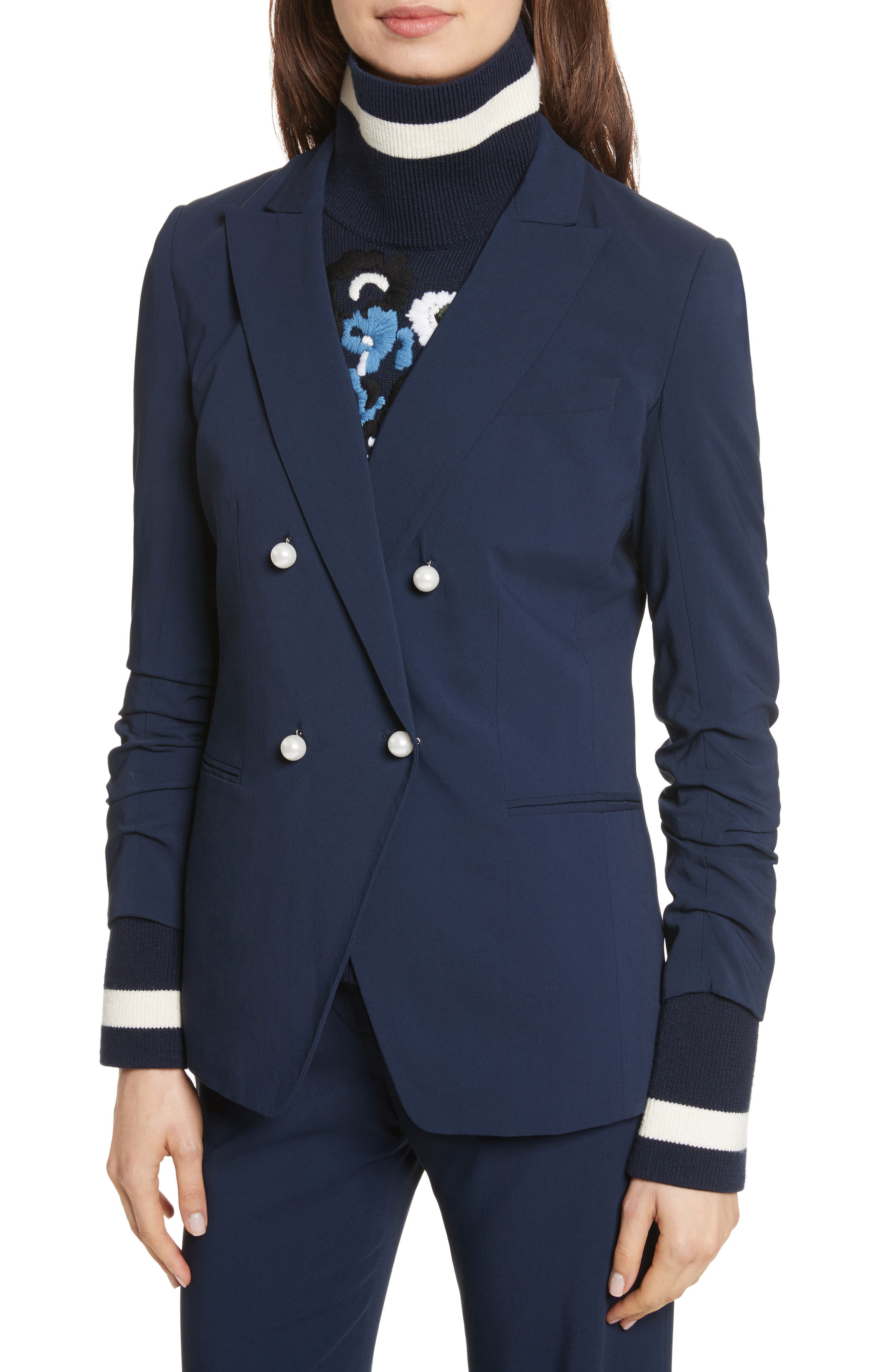 Whit Double Breasted Blazer,                             Alternate thumbnail 4, color,                             Navy