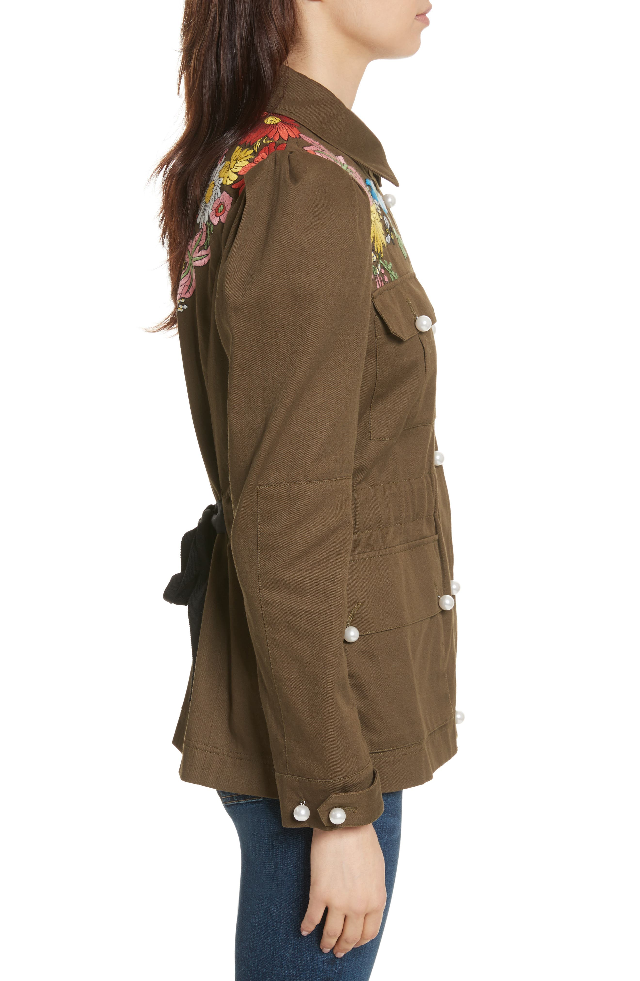Huxley Floral Embroidered Safari Jacket,                             Alternate thumbnail 3, color,                             Army