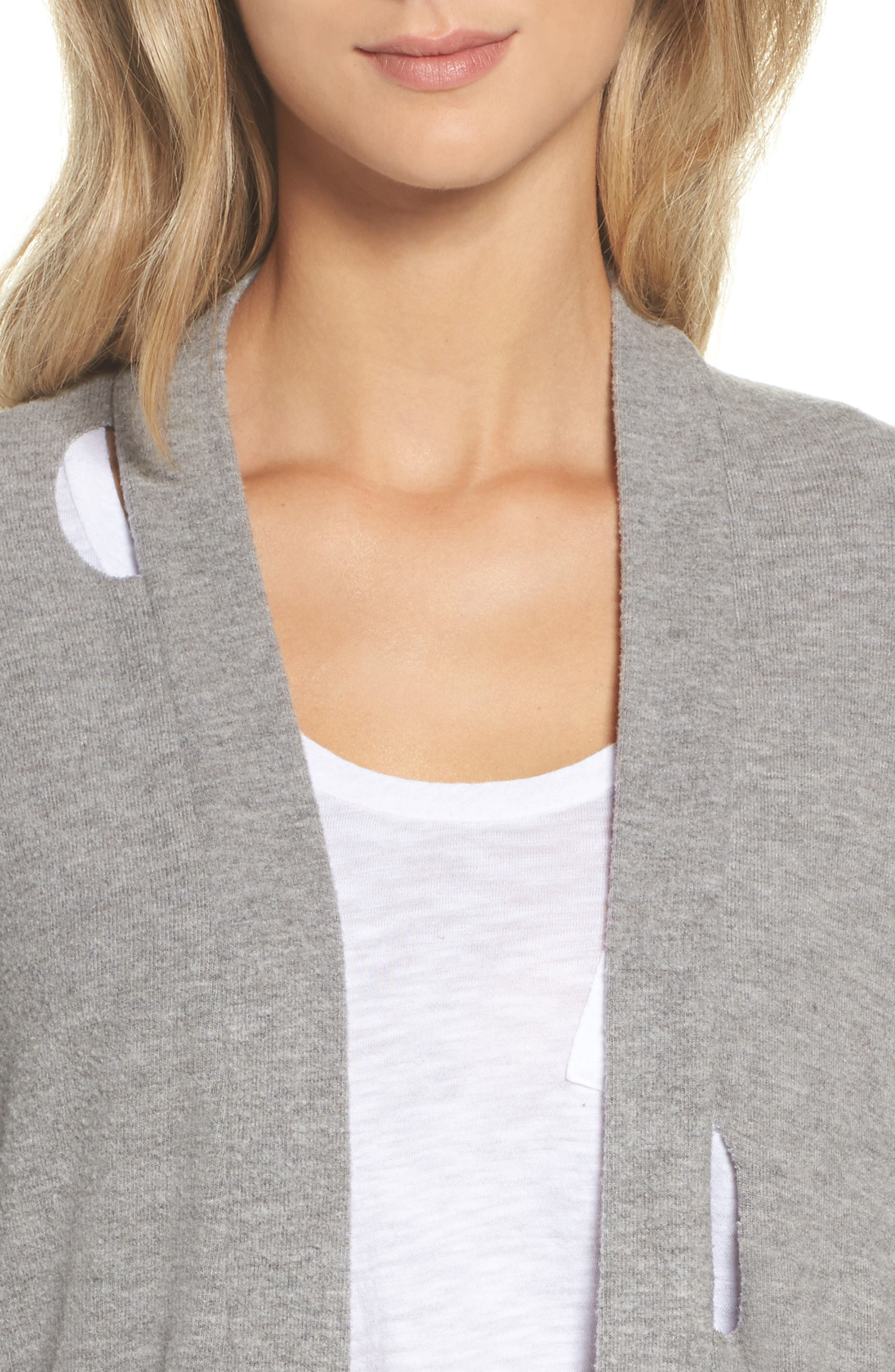 Love Knit Deconstructed Cardigan,                             Alternate thumbnail 5, color,                             Heather Grey