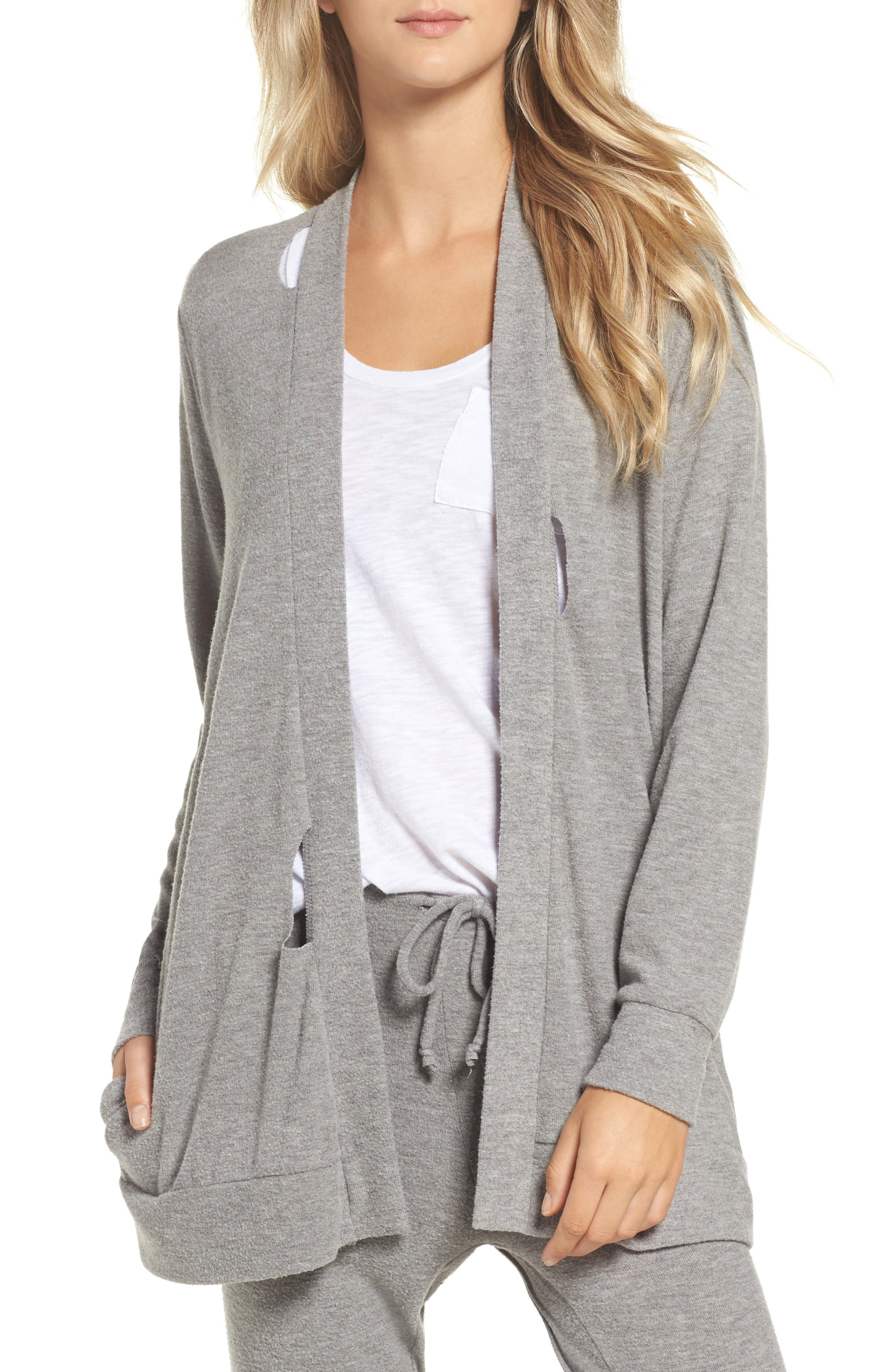 Love Knit Deconstructed Cardigan,                             Main thumbnail 1, color,                             Heather Grey