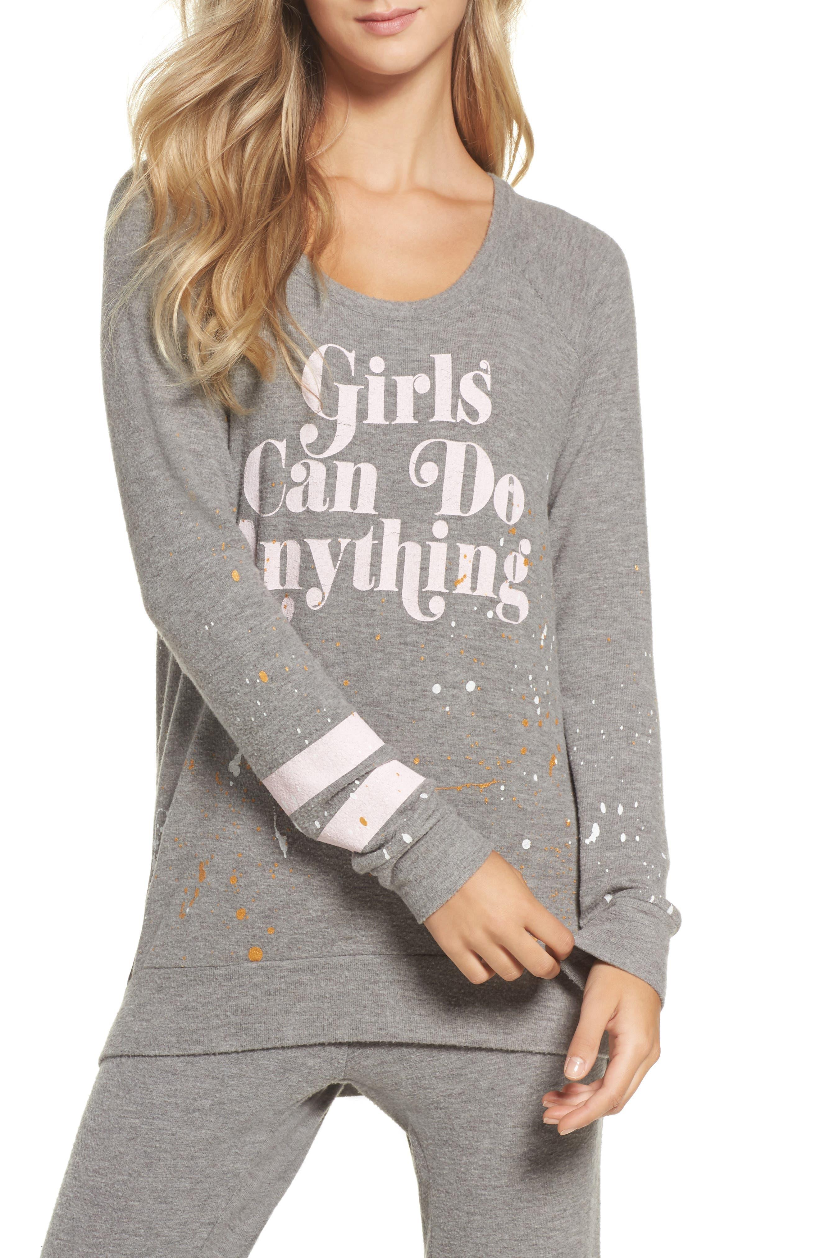 Love Knit Draped Back Sweatshirt,                         Main,                         color, Heather Grey