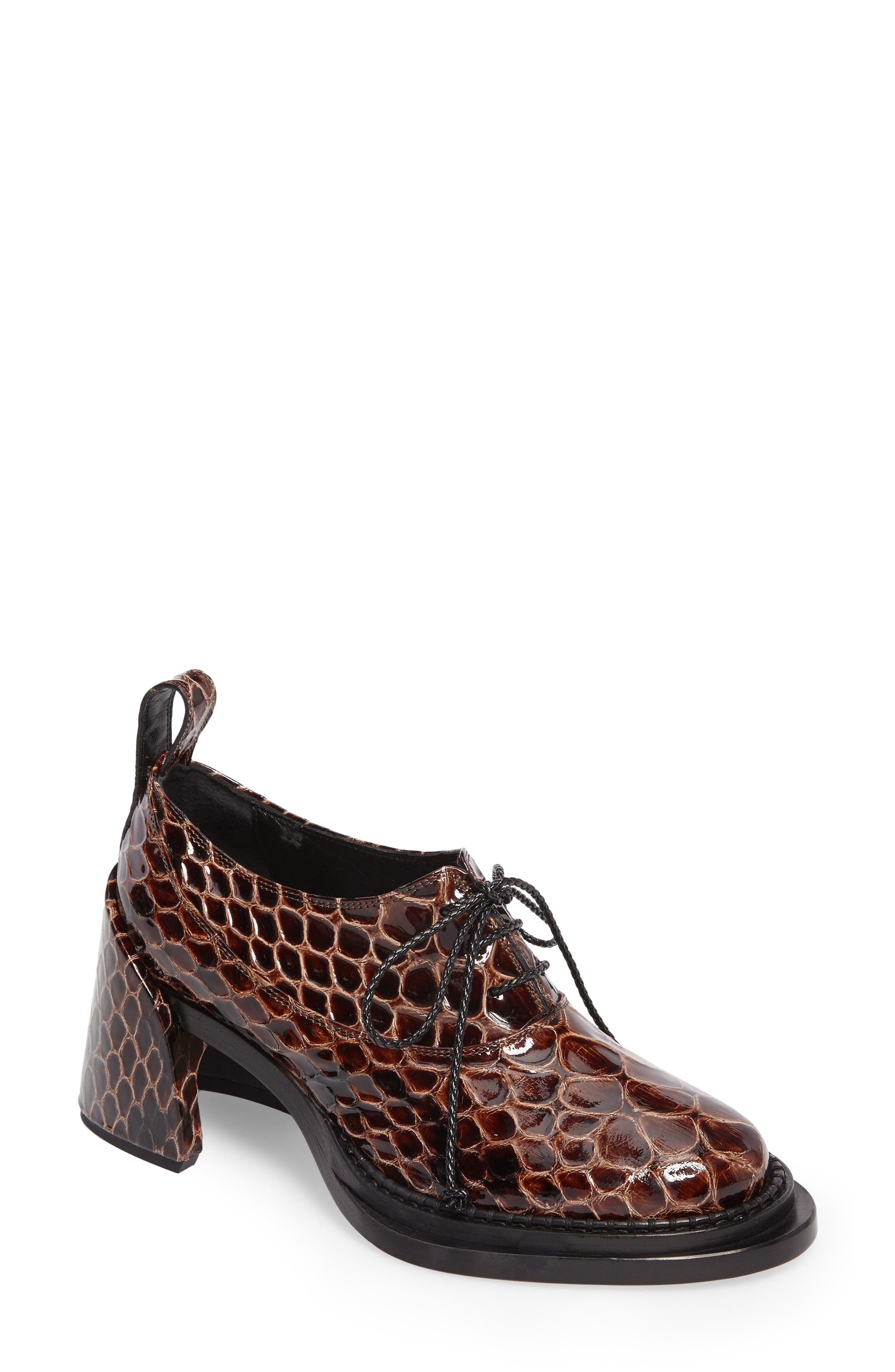 Shell Heel Snake Embossed Leather Oxford,                             Main thumbnail 1, color,                             Brown
