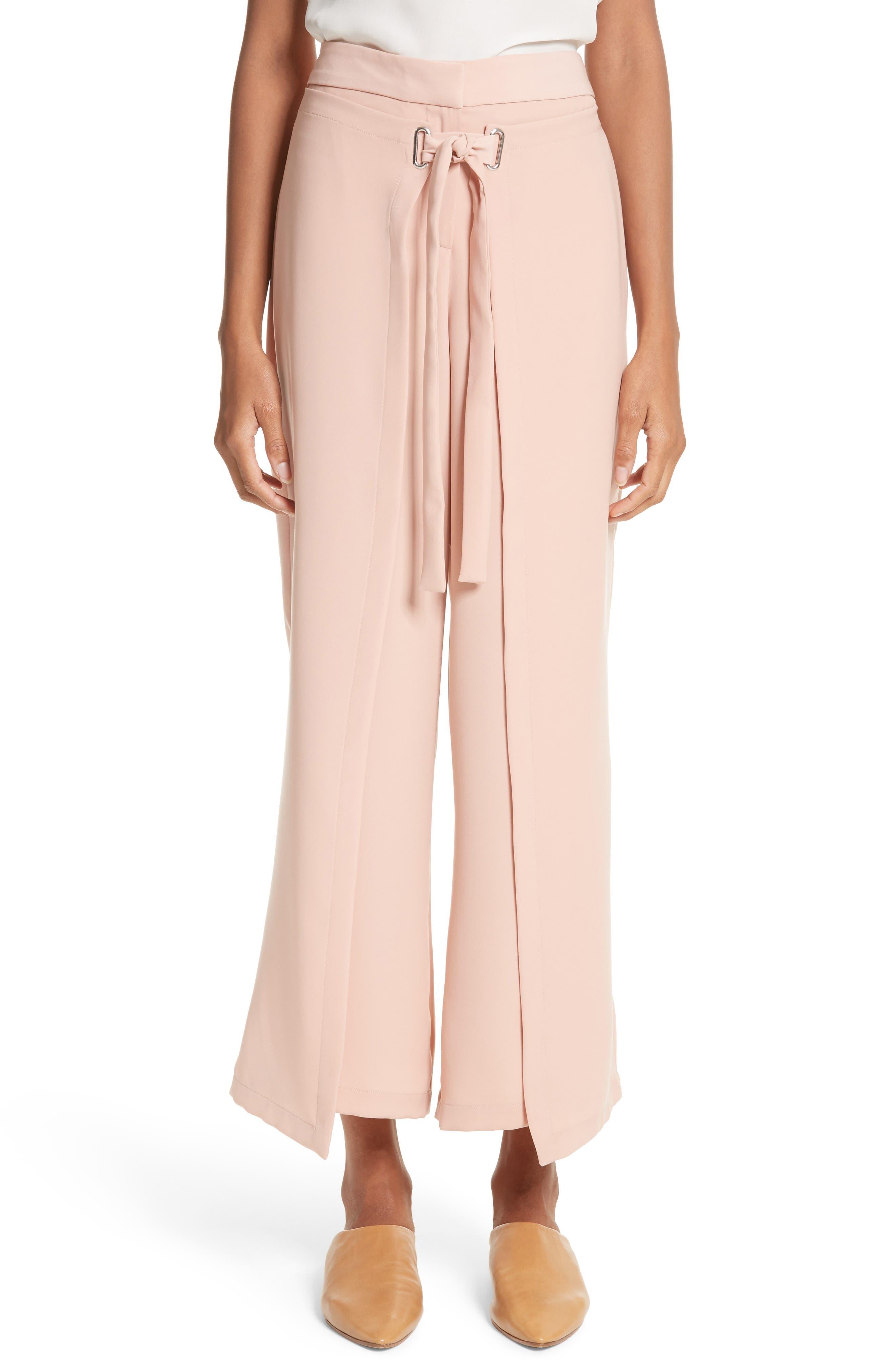 Tie Front Wrap Pants,                         Main,                         color, Blush Pink