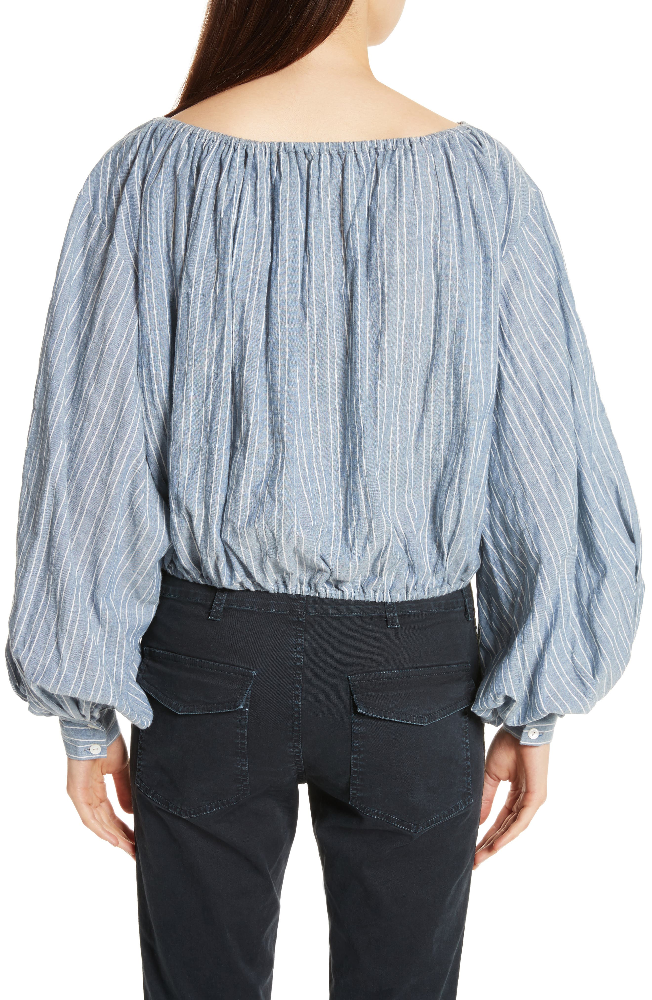 Roxie Chambray Puff Sleeve Blouse,                             Alternate thumbnail 3, color,                             Navy