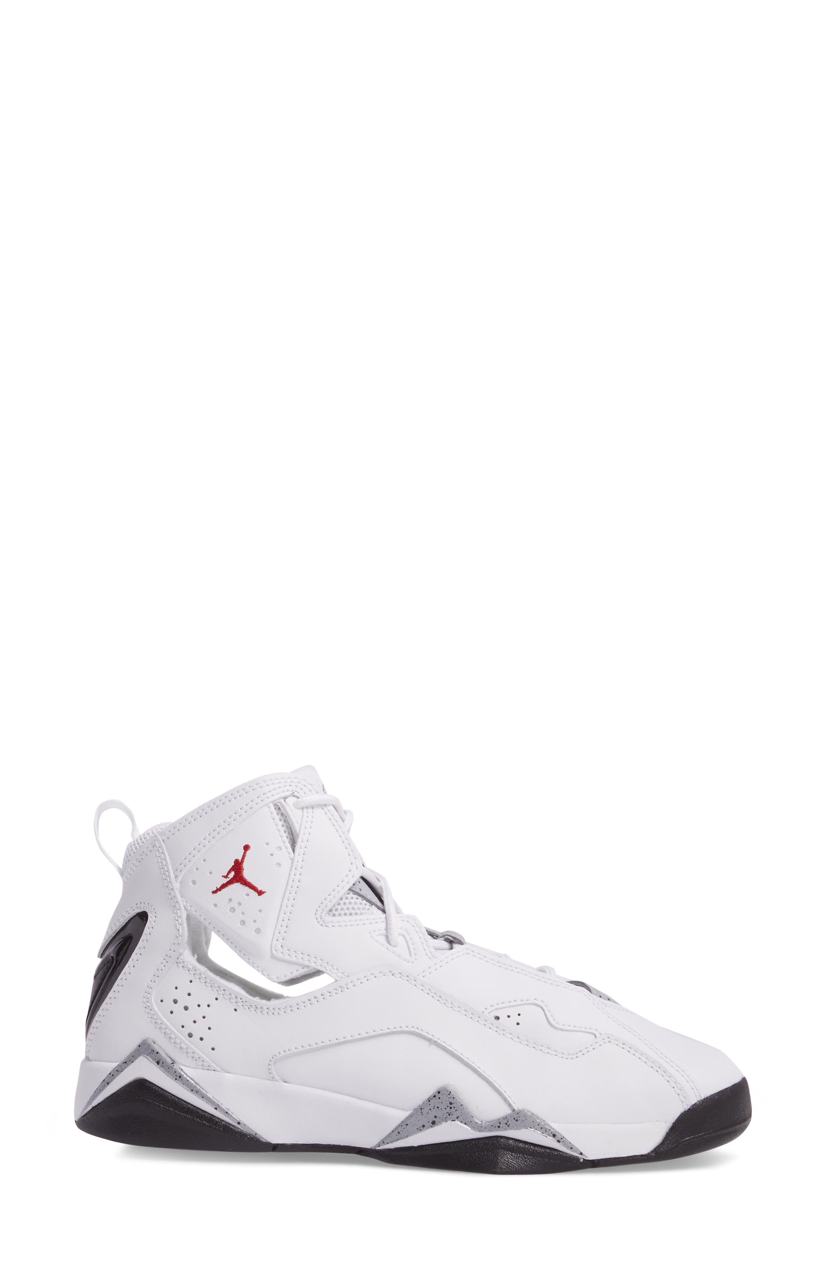 True Flight BG High Top Sneaker,                             Alternate thumbnail 3, color,                             White/ Gym Red/ Wolf Grey