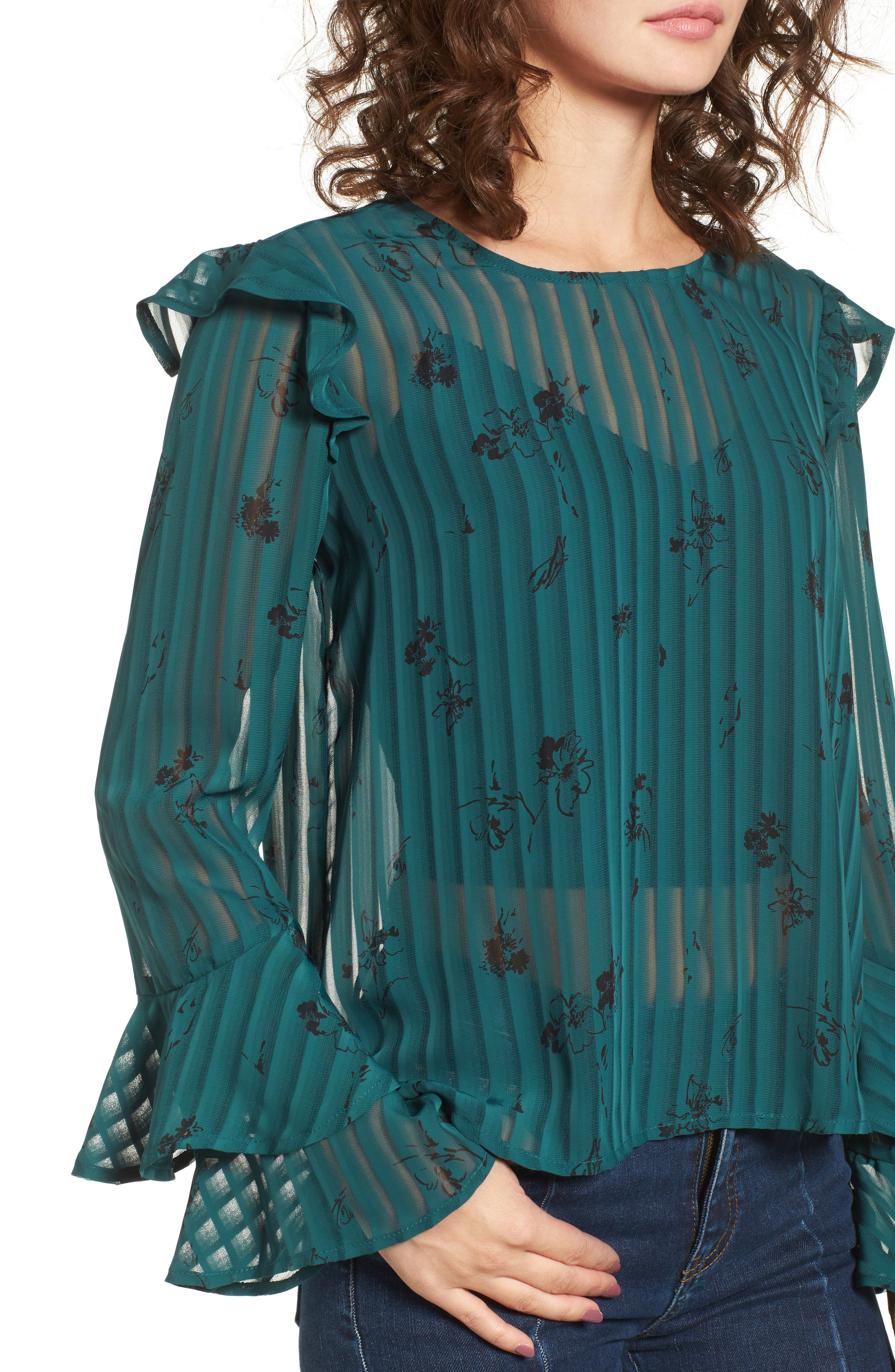 Alternate Image 4  - BP. Ruffled Sheer Stripe Blouse
