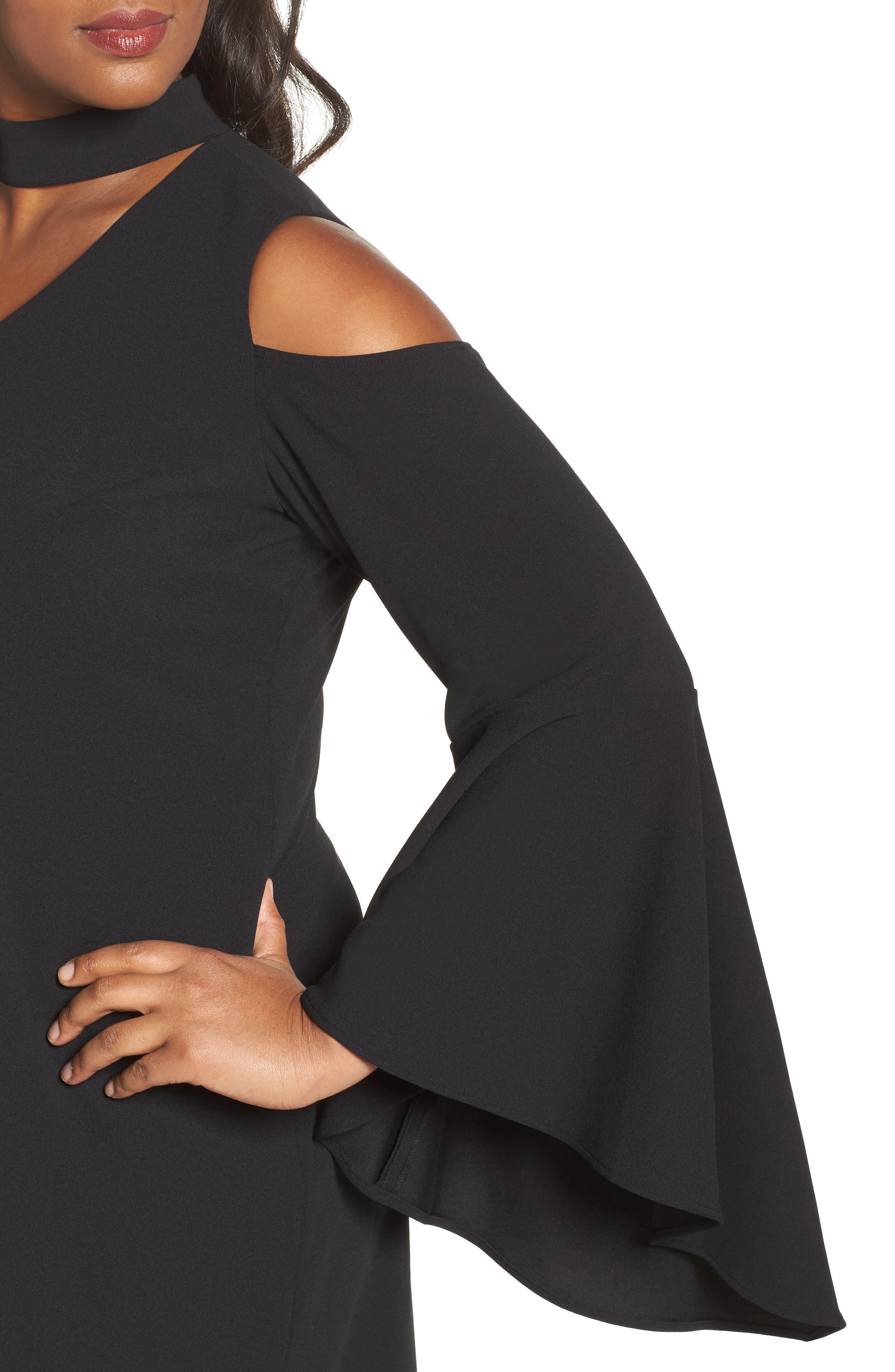 Cold Shoulder Bell Sleeve Dress,                             Alternate thumbnail 4, color,                             Rich Black