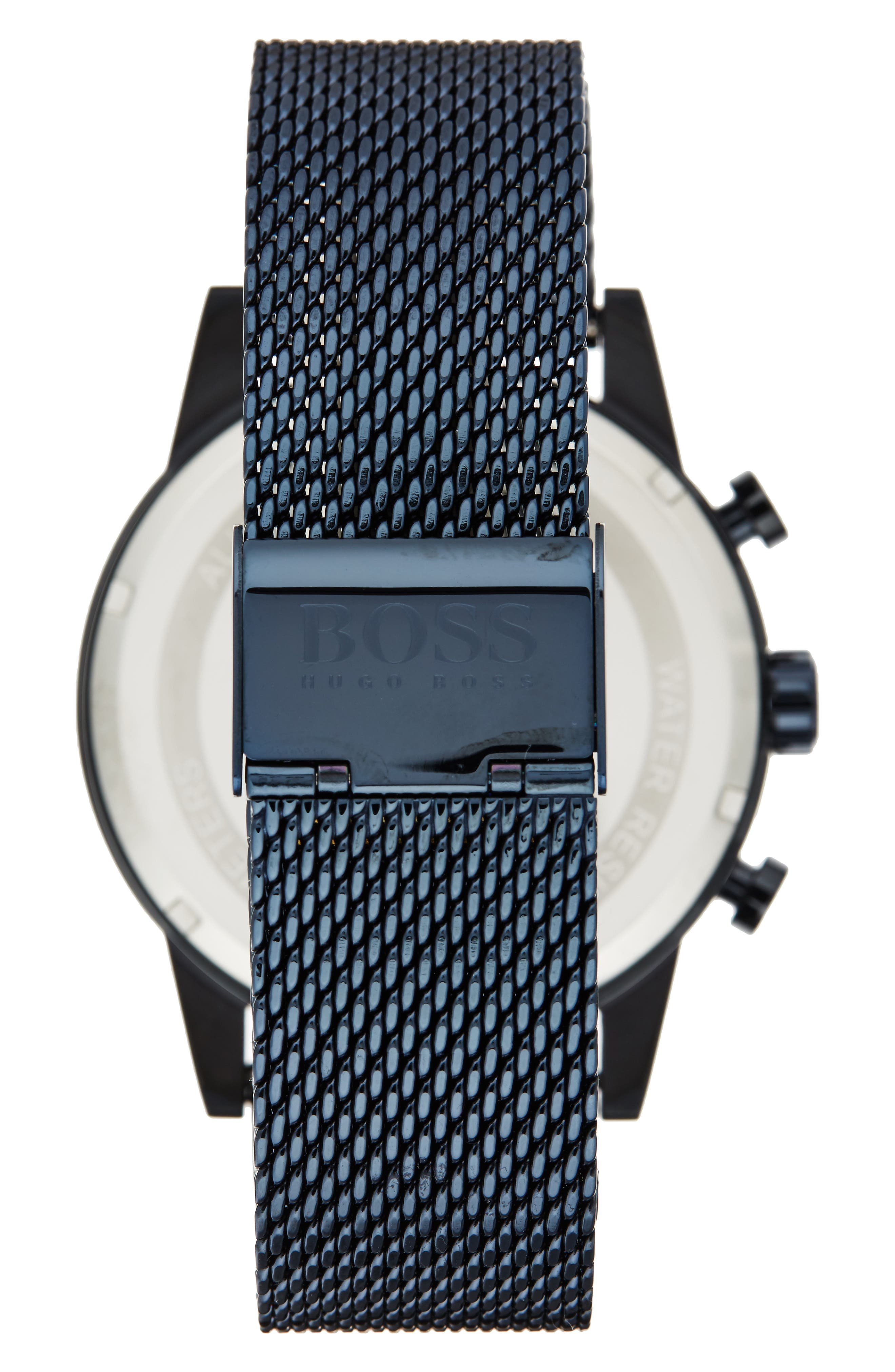 Navigator Chronograph Mesh Strap Watch, 44mm,                             Alternate thumbnail 2, color,                             Navy/ Navy
