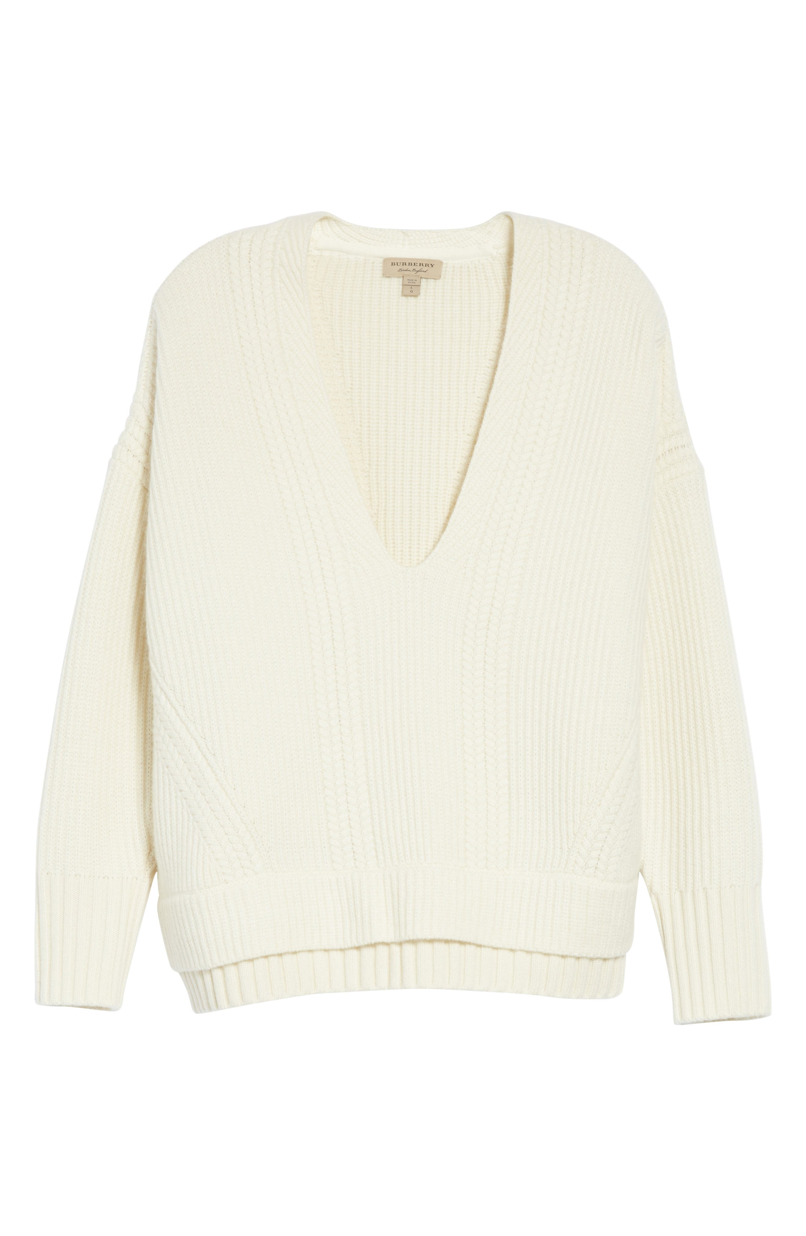 Santerno Wool & Cashmere Cable Knit Sweater,                             Alternate thumbnail 6, color,                             Natural White