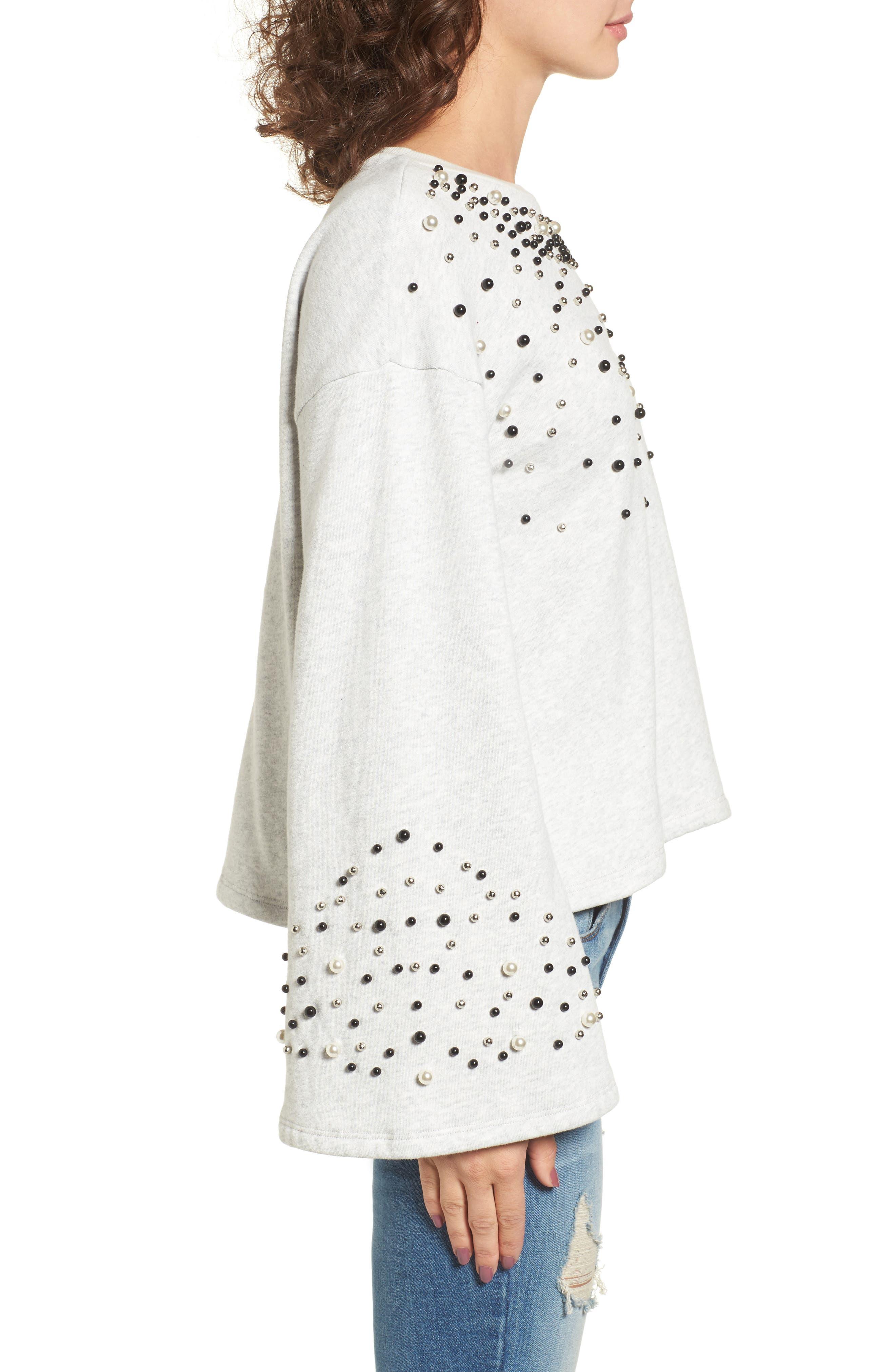 Embellished Bell Sleeve Sweatshirt,                             Alternate thumbnail 3, color,                             Grey Light Heather