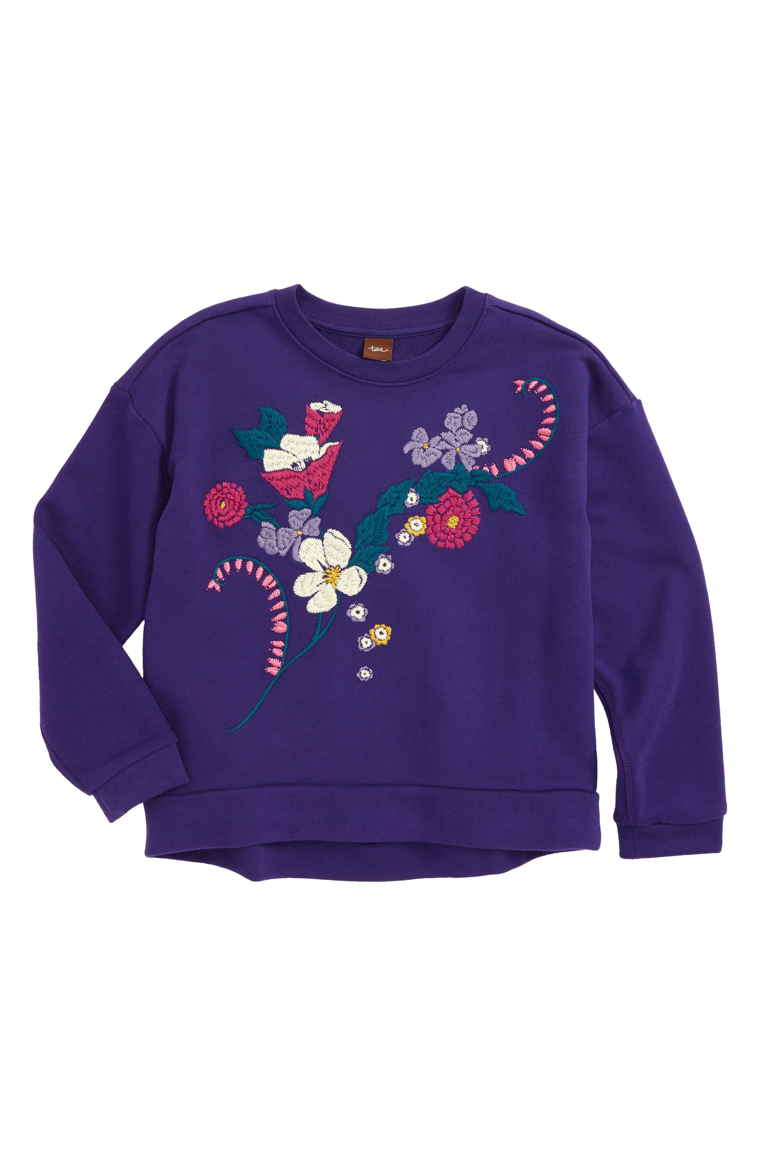 Alternate Image 1 Selected - Tea Collection Primrose Embroidered Sweatshirt (Toddler Girls, Little Girls & Big Girls)