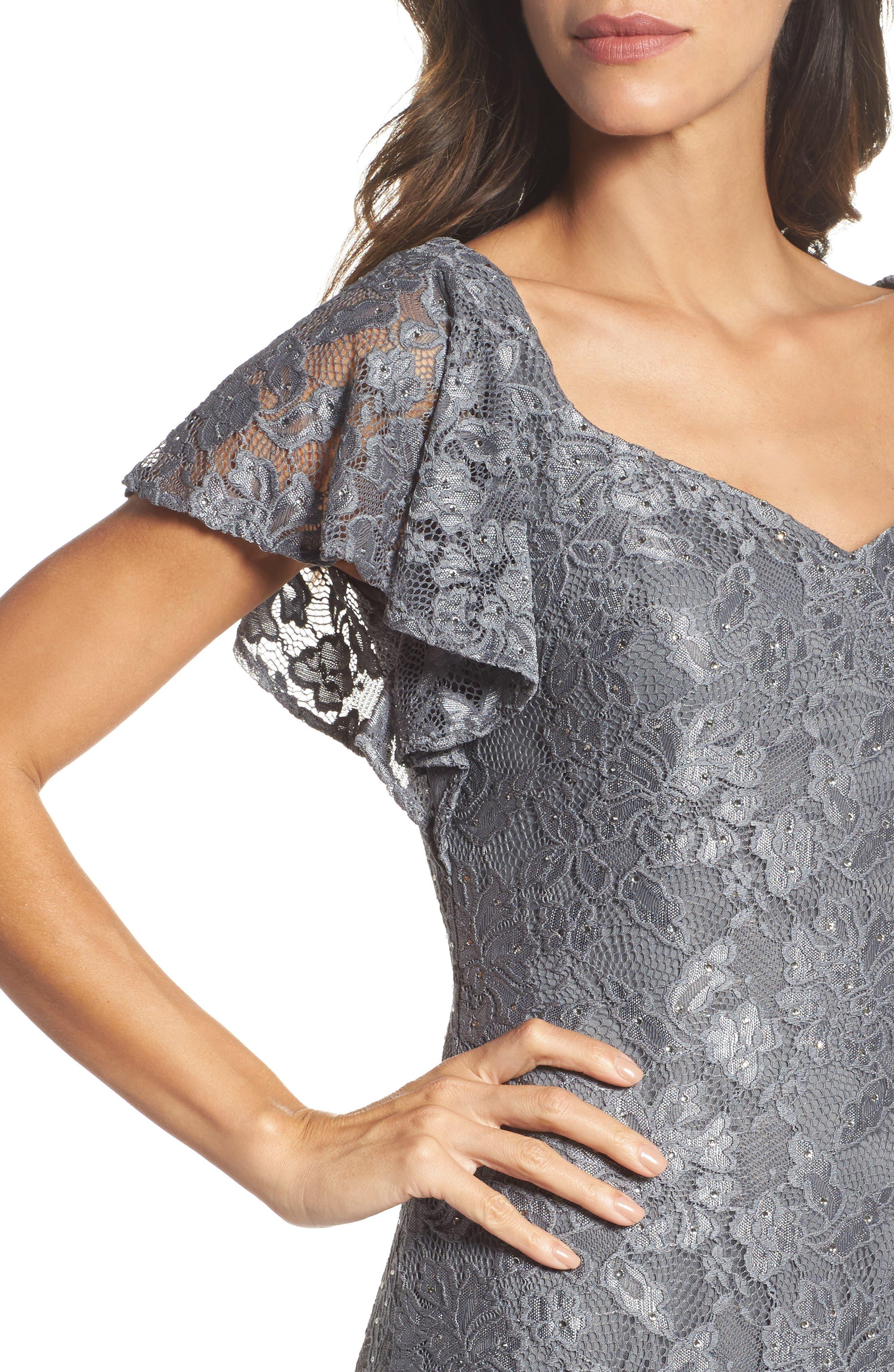 Alternate Image 4  - La Femme Flutter Sleeve Lace Gown