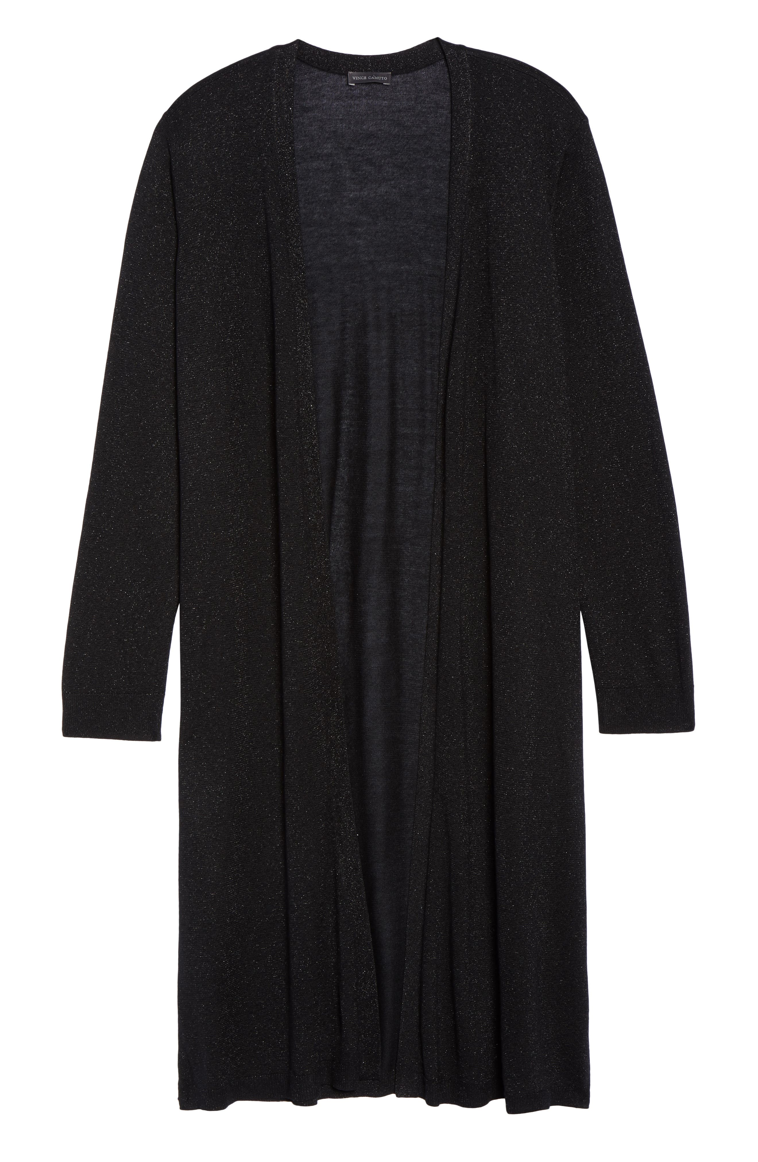 Metallic Maxi Cardigan,                             Alternate thumbnail 6, color,                             Rich Black