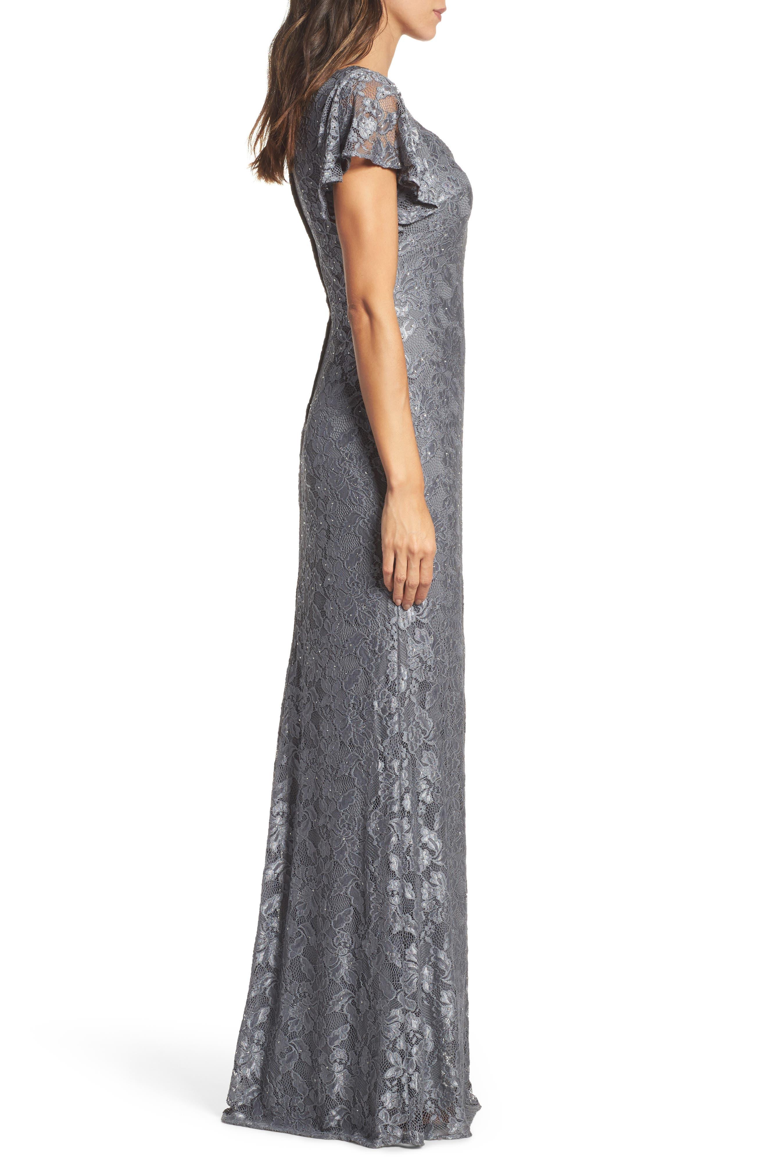Alternate Image 3  - La Femme Flutter Sleeve Lace Gown