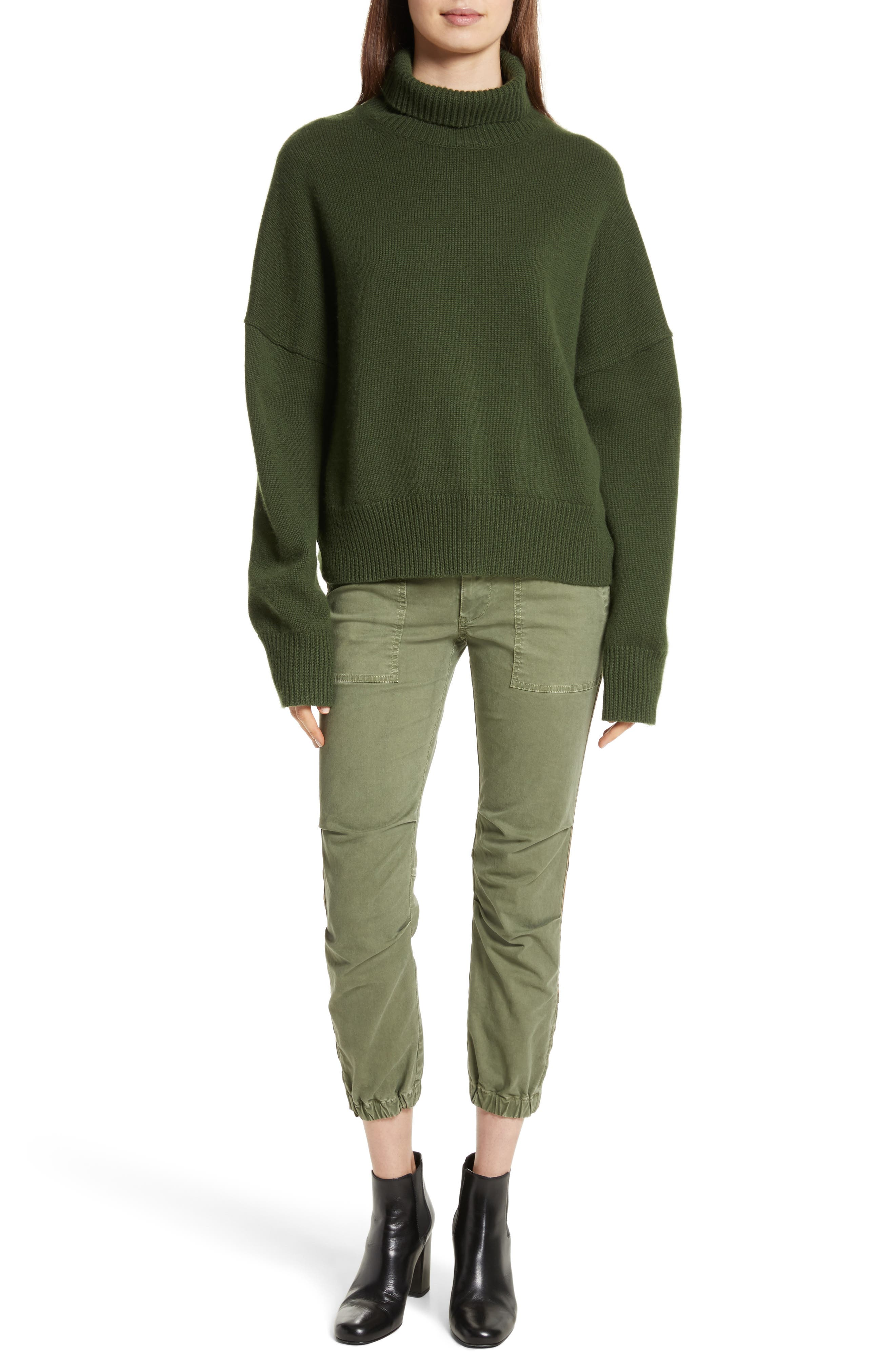 French Crop Military Pants,                             Alternate thumbnail 2, color,                             Camo