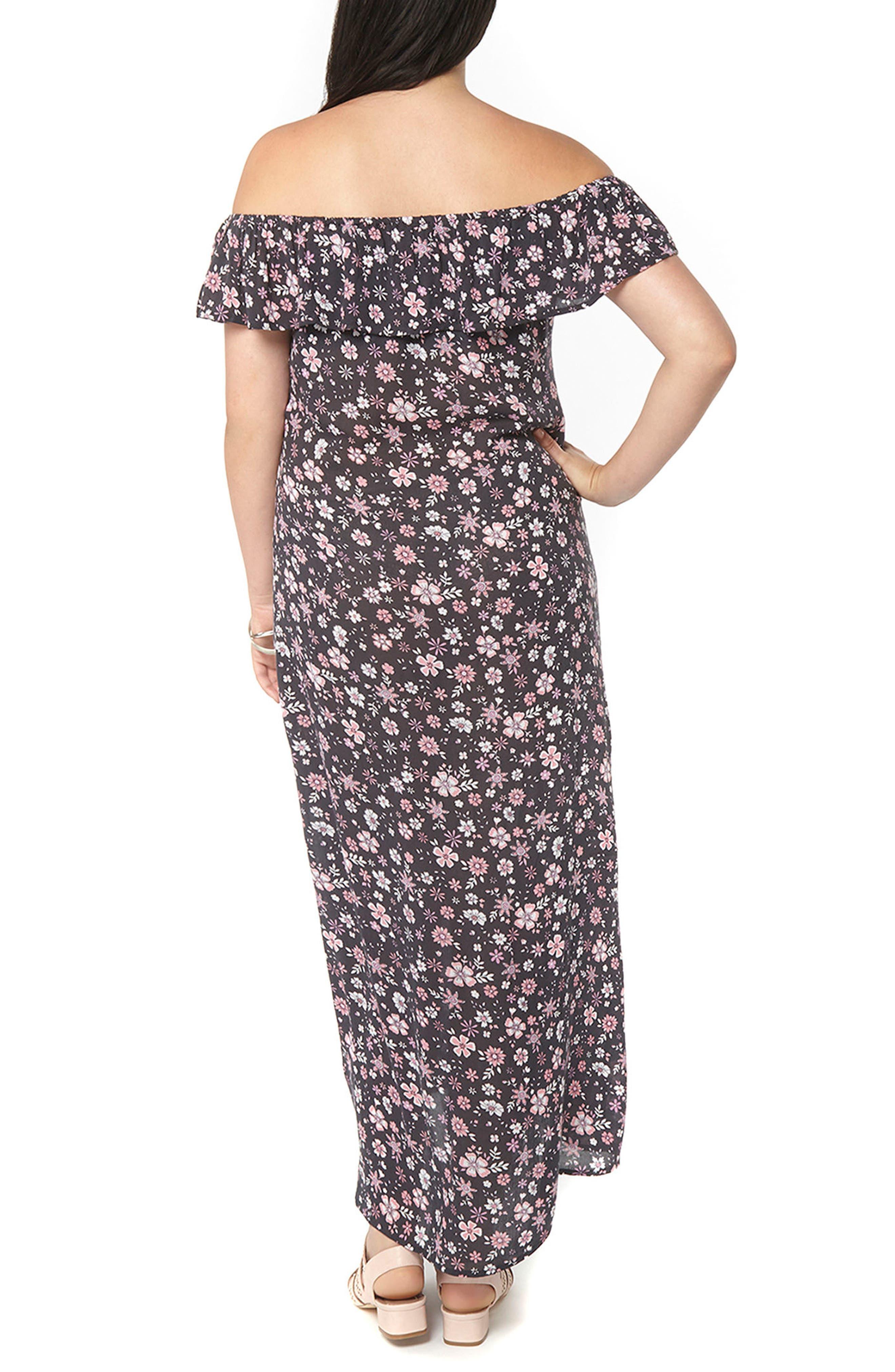 Alternate Image 2  - Evans Ditsy Floral Convertible Maxi Dress (Plus Size)