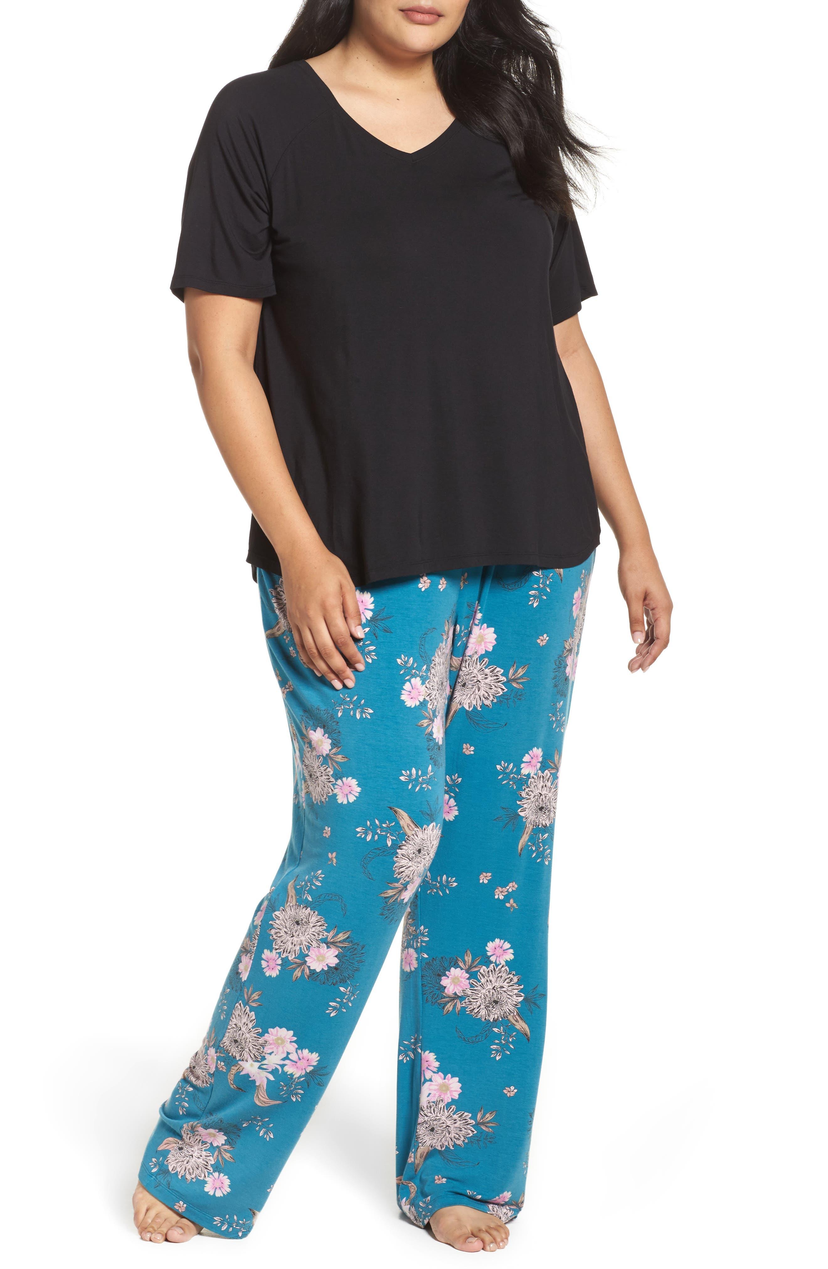 Pajamas,                             Main thumbnail 1, color,                             Teal