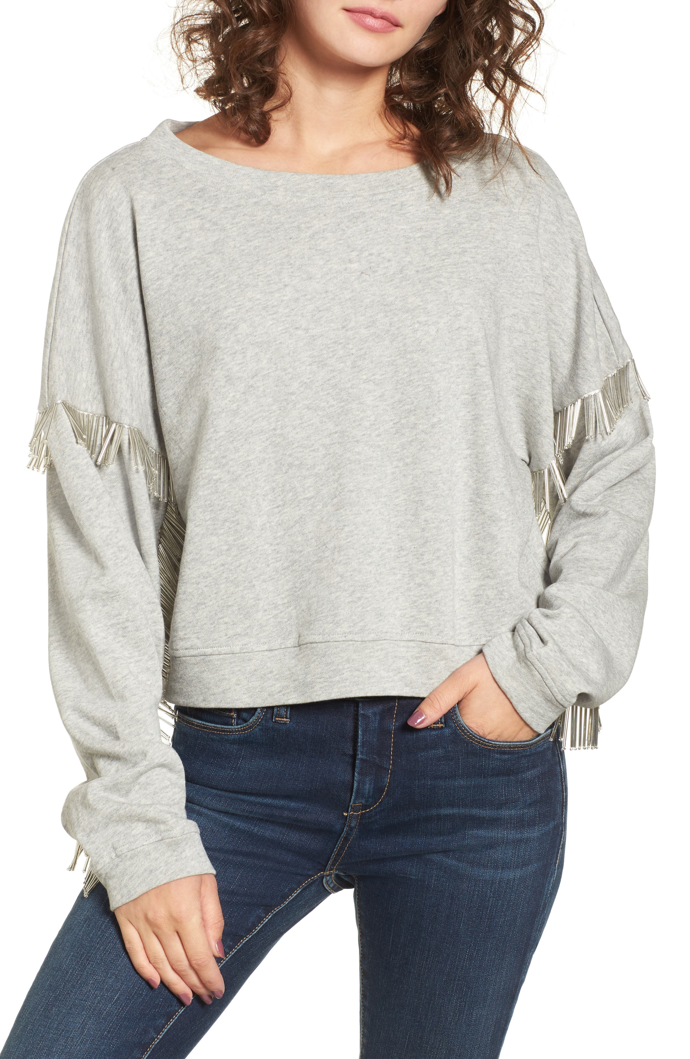 BLANKNYC Beaded Fringe Crop Sweatshirt
