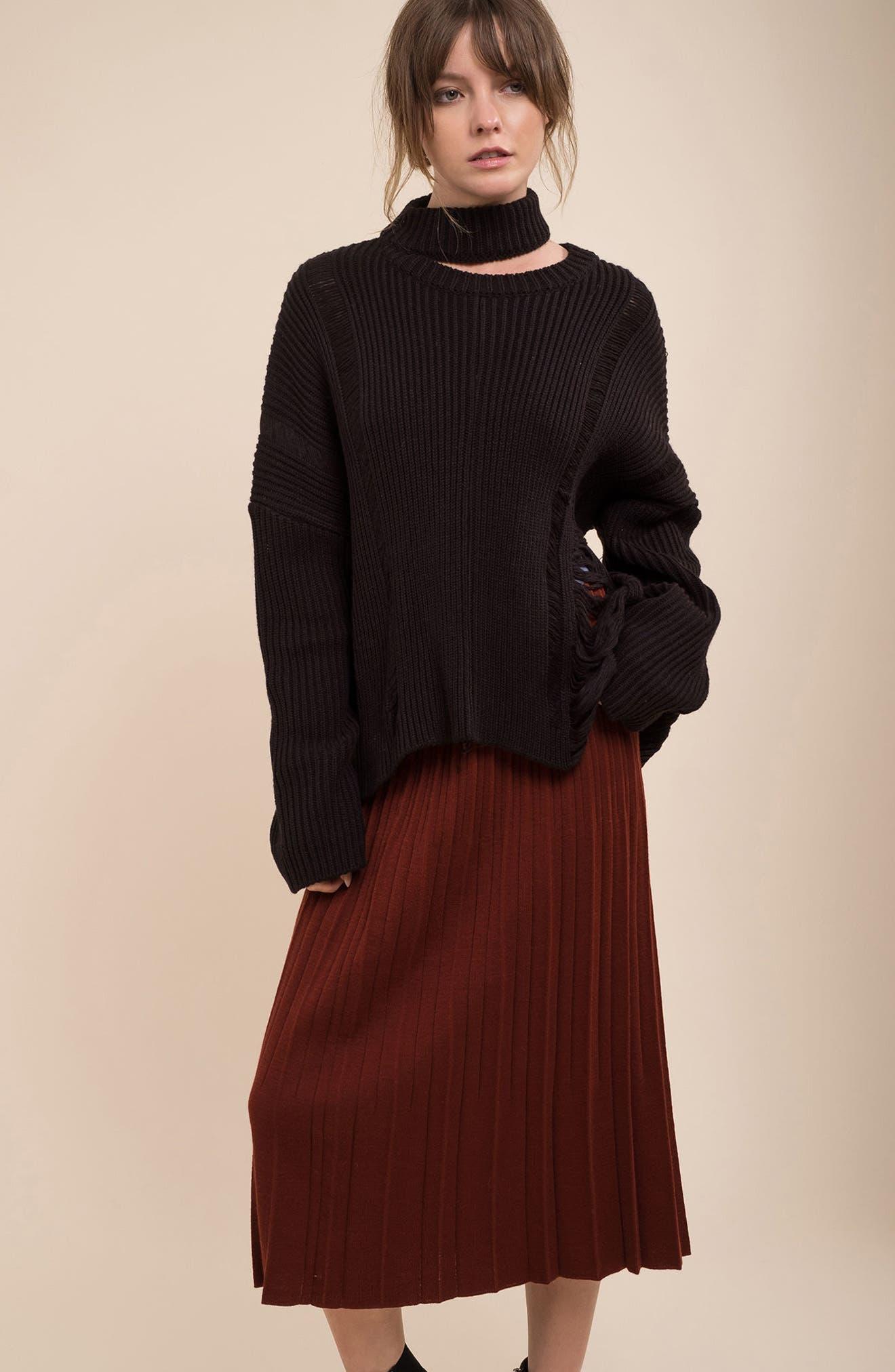 Destroyed Sweater,                             Alternate thumbnail 2, color,                             Black