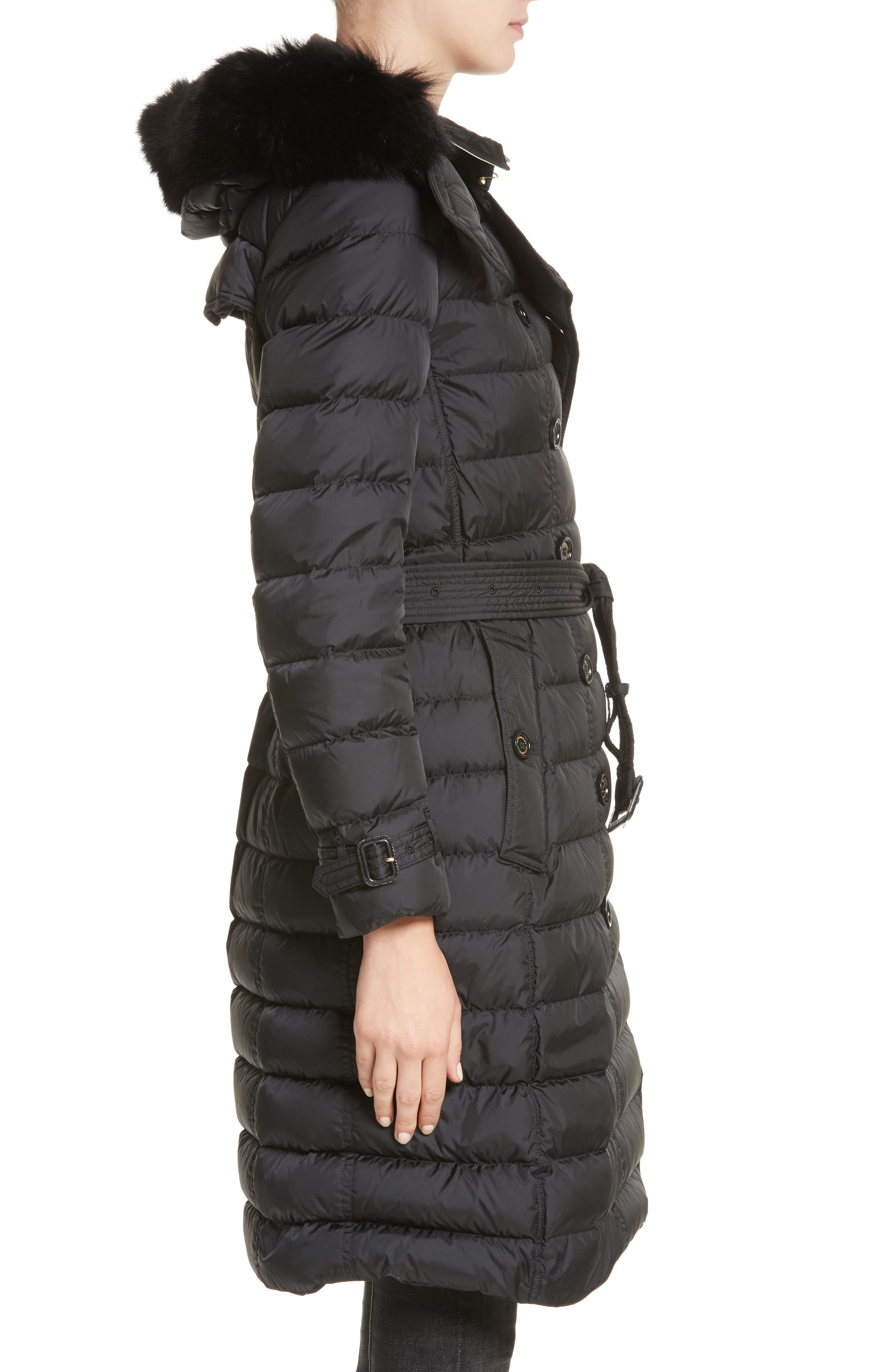 Alternate Image 3  - Burberry Hooded Down Puffer Coat with Genuine Fox Fur Trim