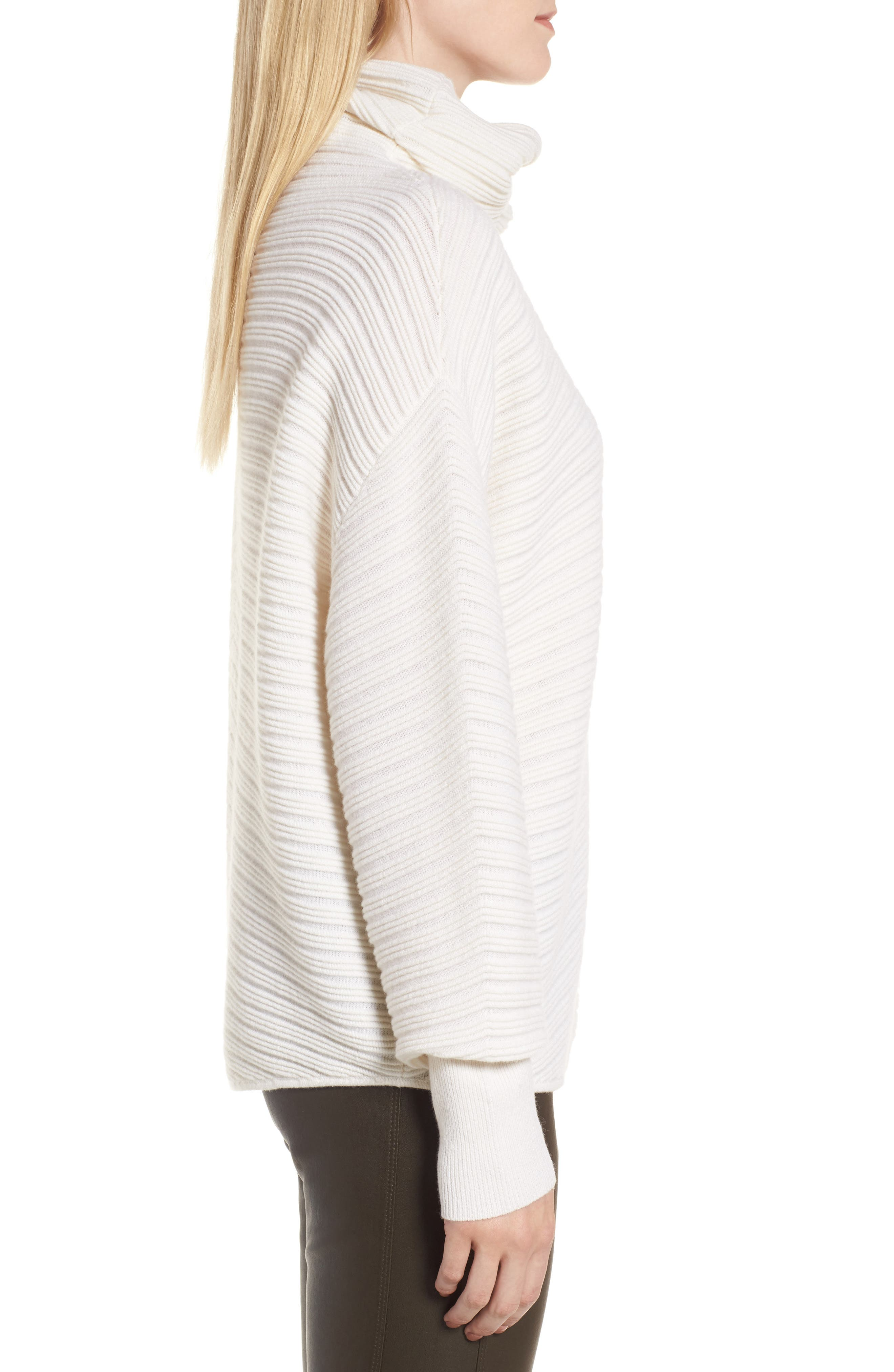 Alternate Image 3  - Nordstrom Signature Scrunch Neck Ottoman Knit Cashmere Sweater