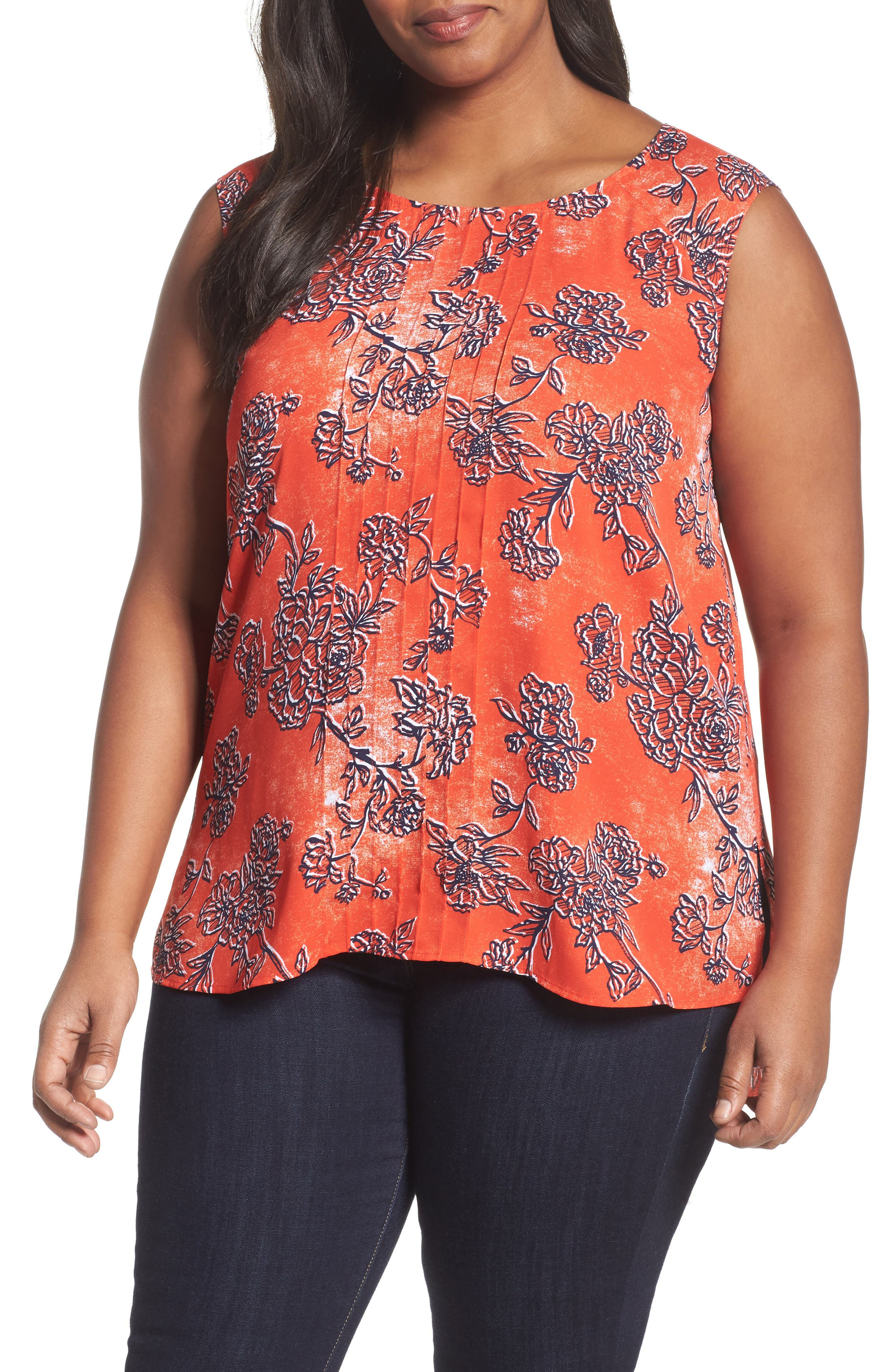 Pintuck Tank,                         Main,                         color, Red Fiery Floral Print