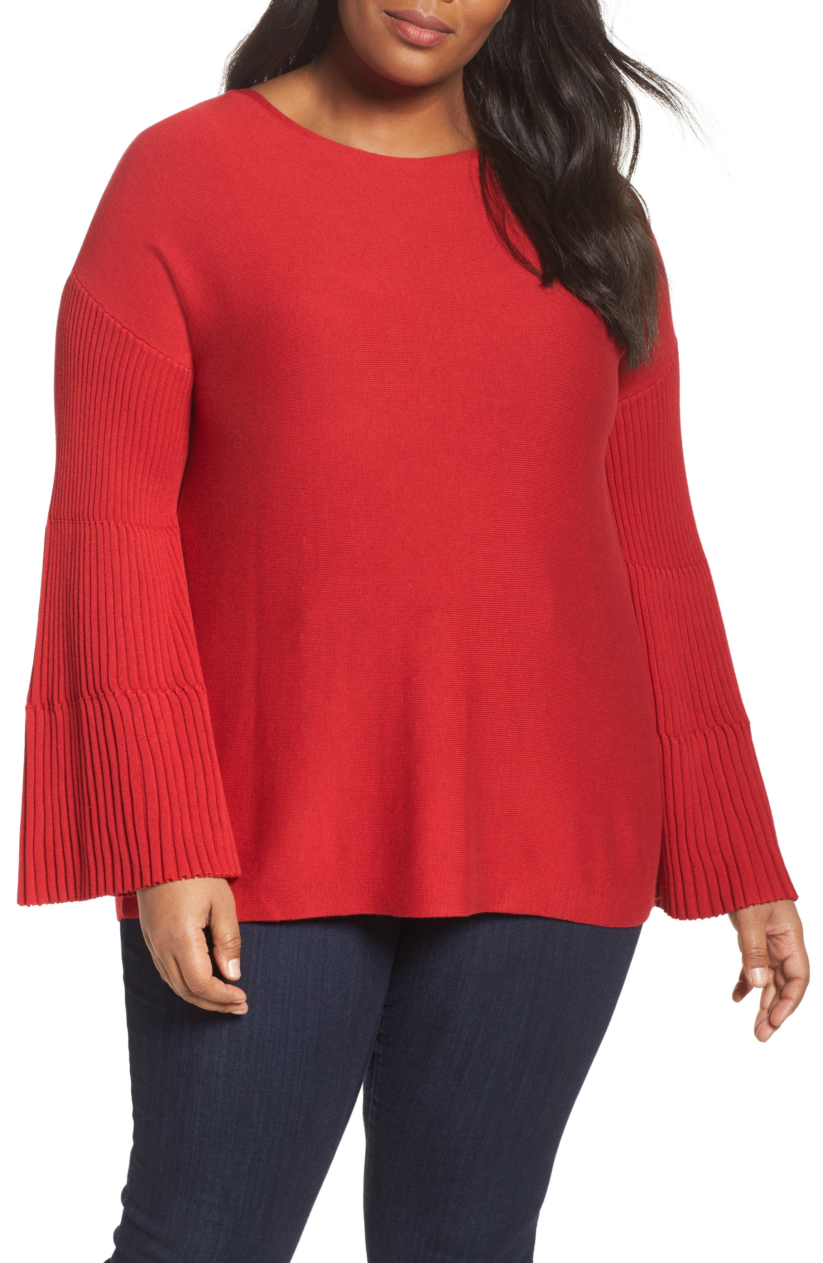 Ribbed Bell Sleeve Sweater,                         Main,                         color, True Crimson