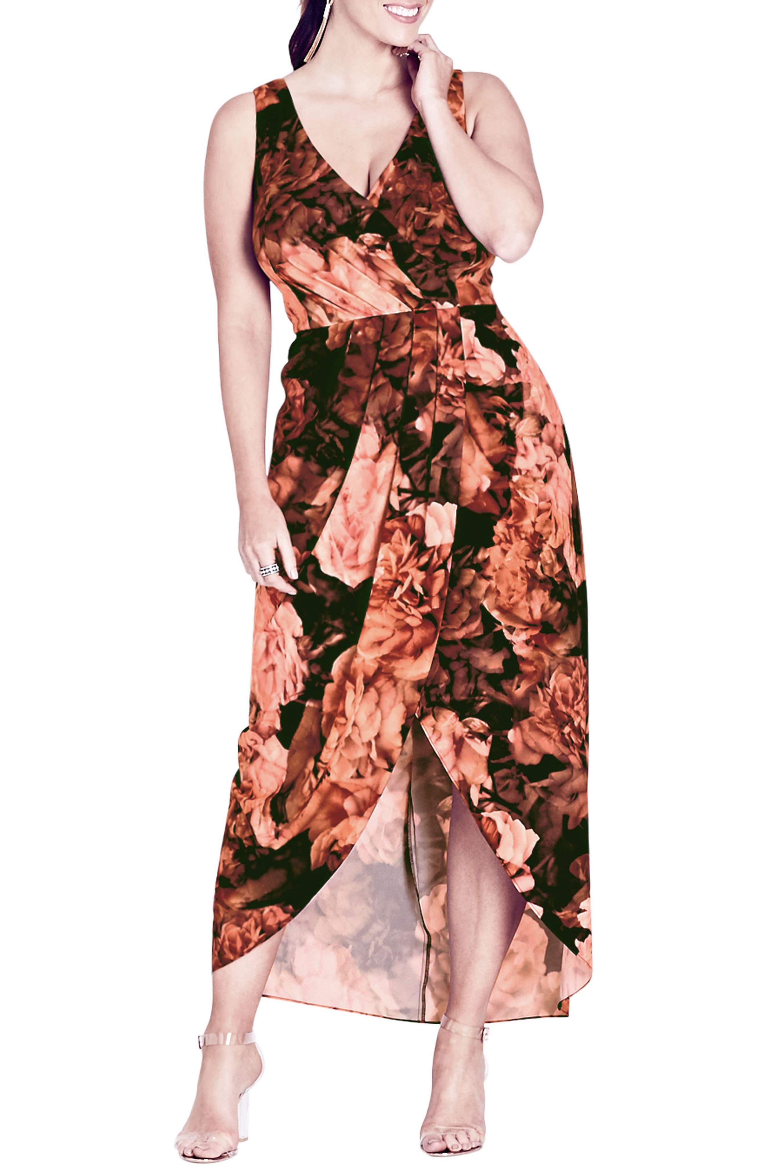 Alternate Image 1 Selected - City Chic Soft Autumn Maxi Dress (Plus Size)