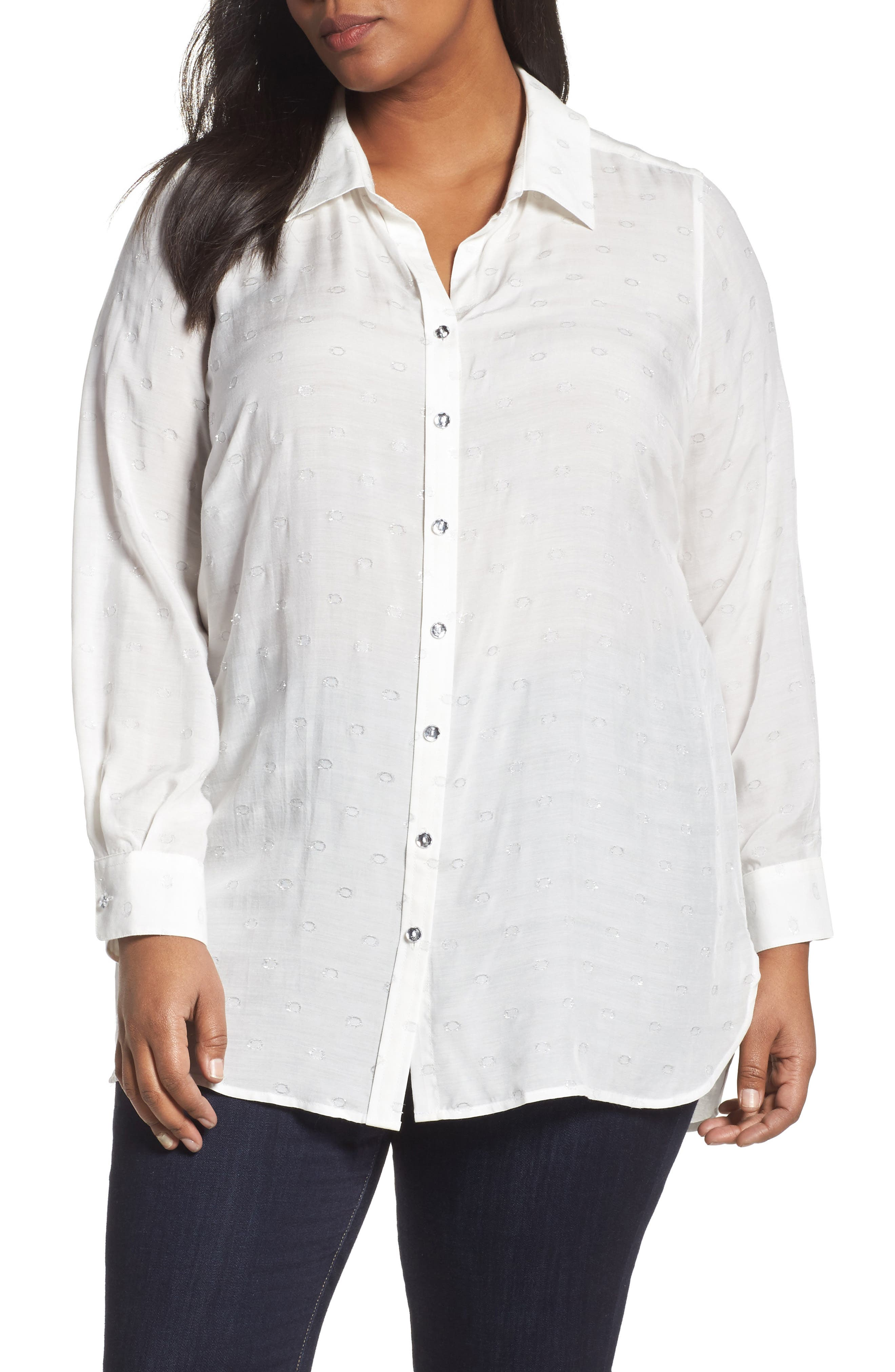 Alternate Image 1 Selected - Foxcroft Jade Metallic Clip Dot Shirt (Plus Size)