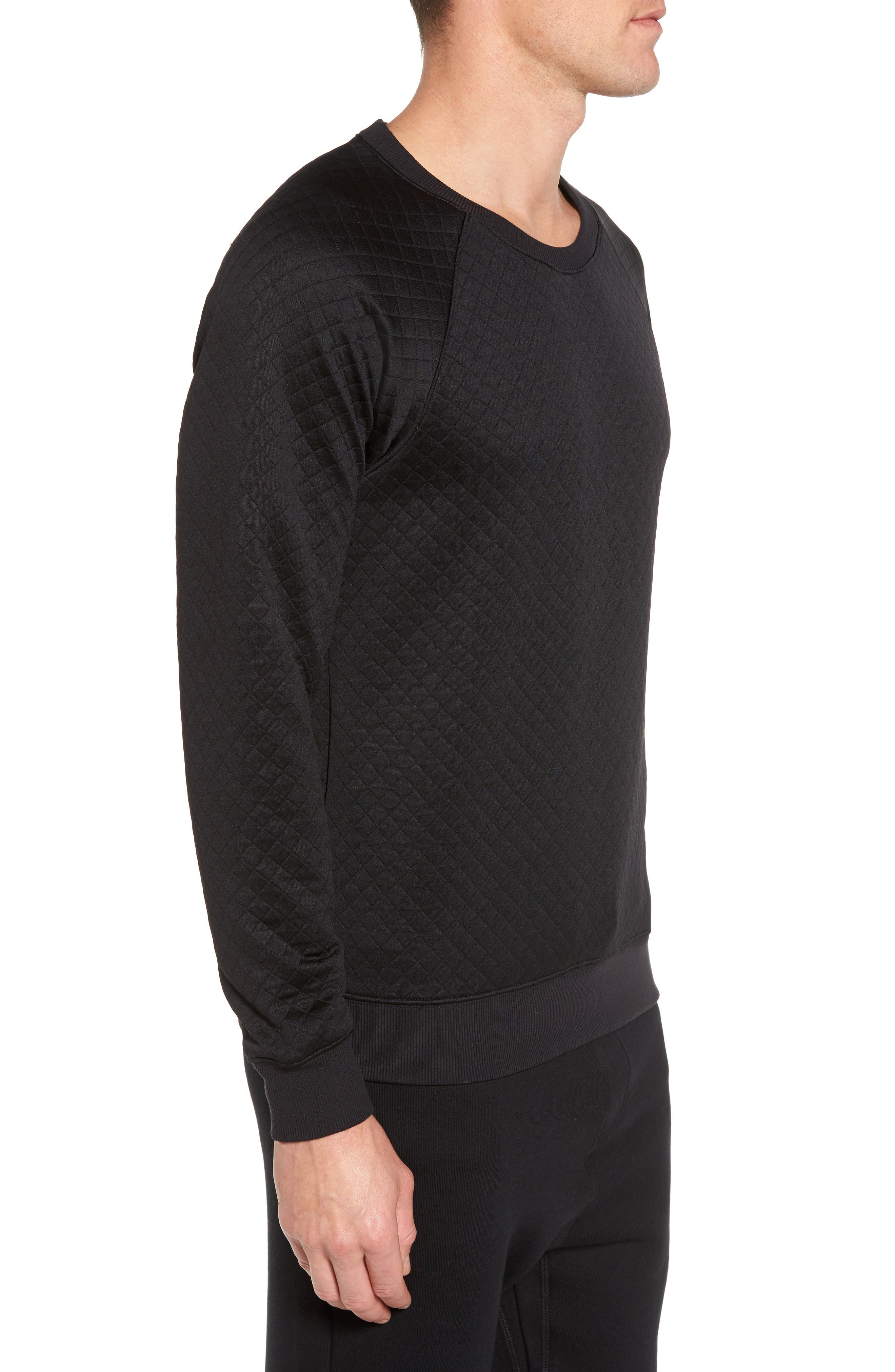 Yama Relaxed Slim Fit Quilted Sweatshirt,                             Alternate thumbnail 3, color,                             Black