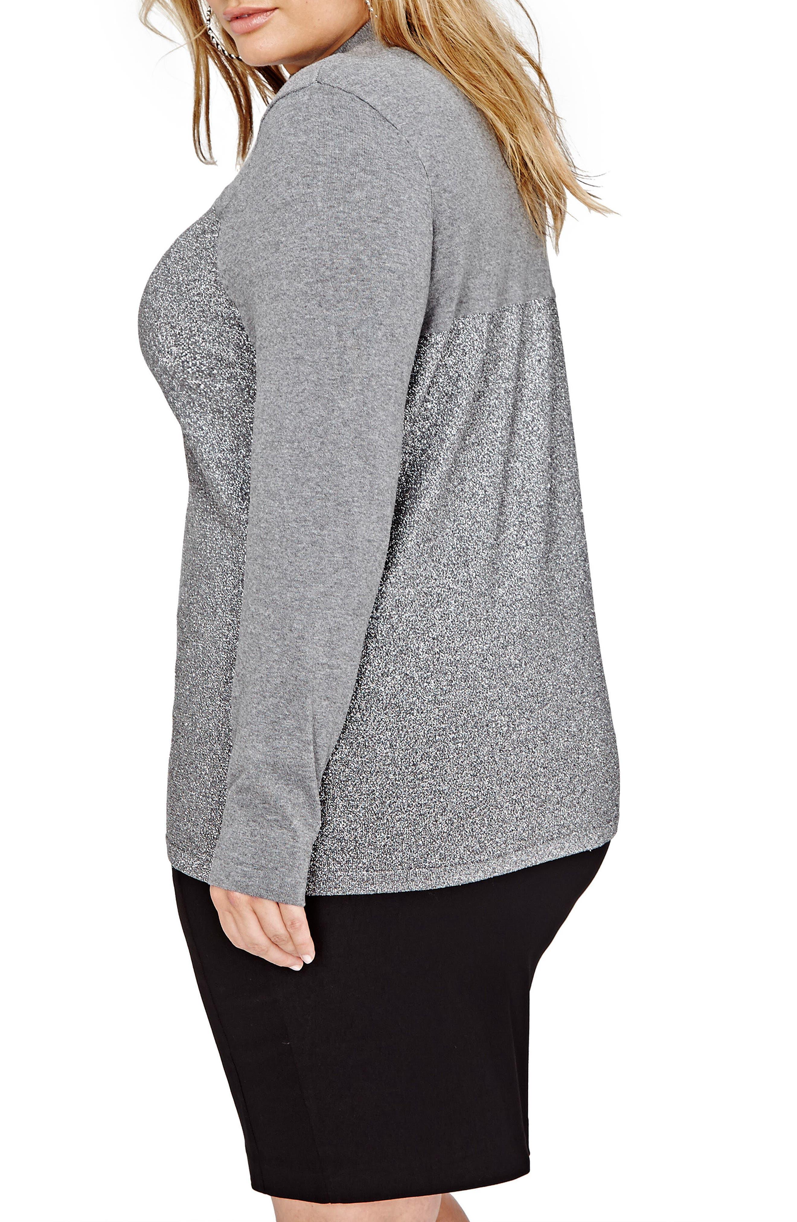 Peekaboo Cutout Sweater,                             Alternate thumbnail 2, color,                             Med Grey Mix
