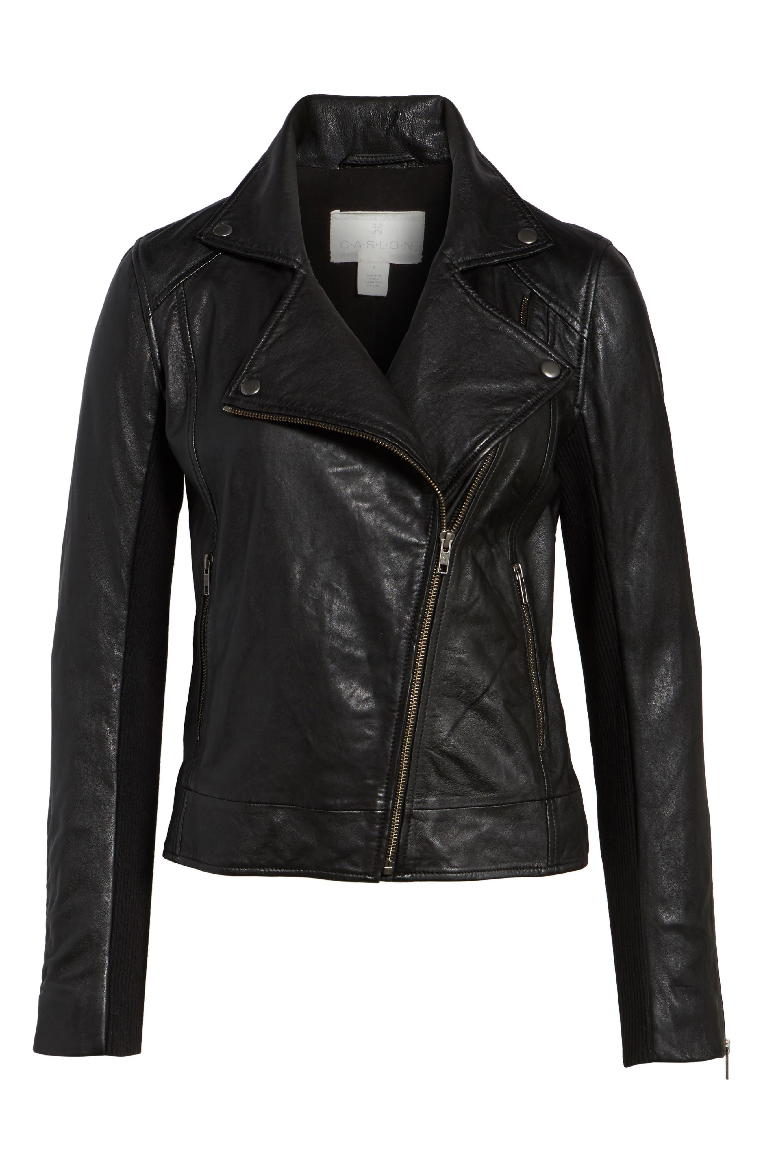 Alternate Image 6  - Caslon® Leather Moto Jacket (Regular & Petite)