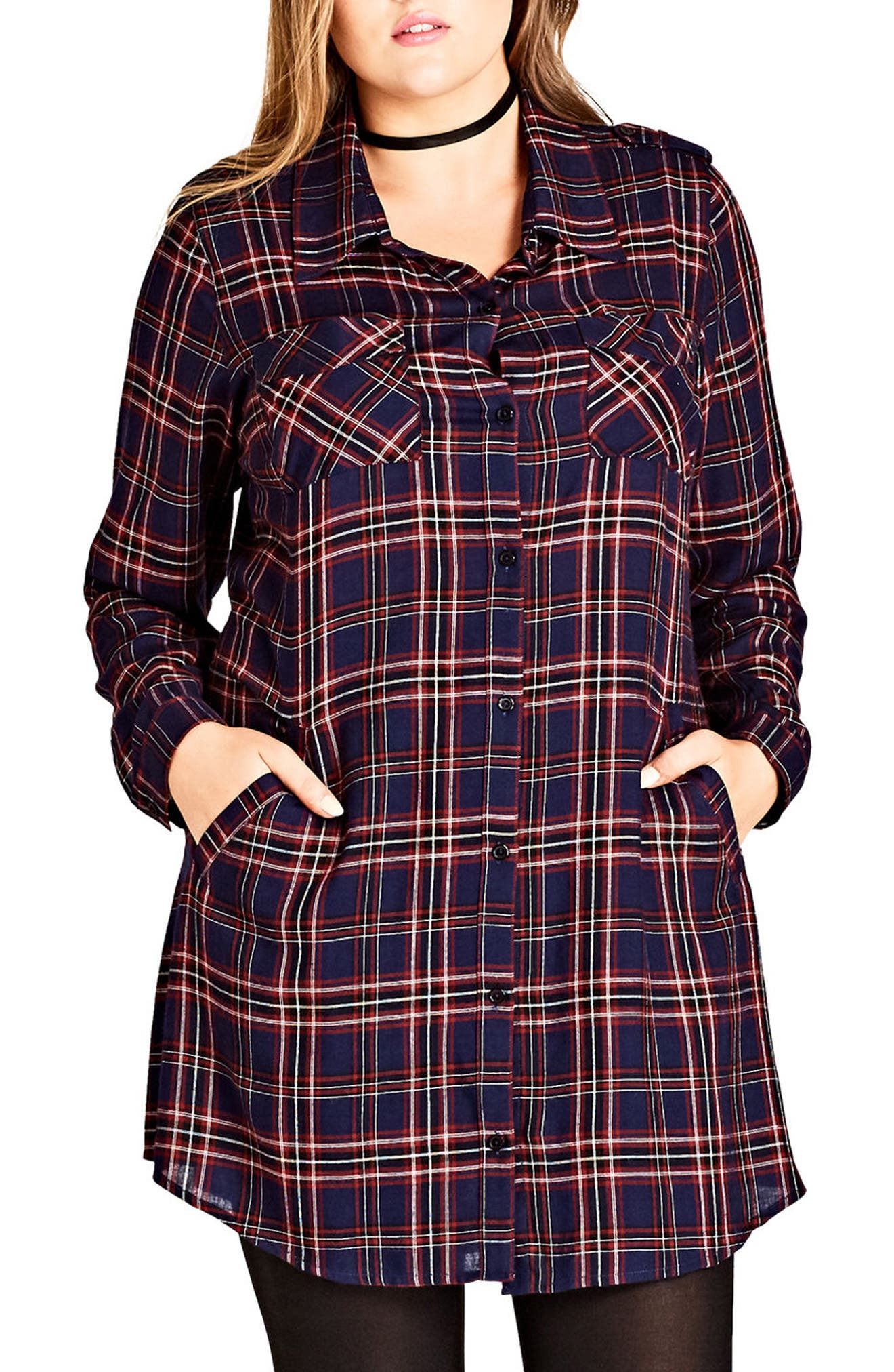 Record Love Longline Shirt,                         Main,                         color, Ruby Check