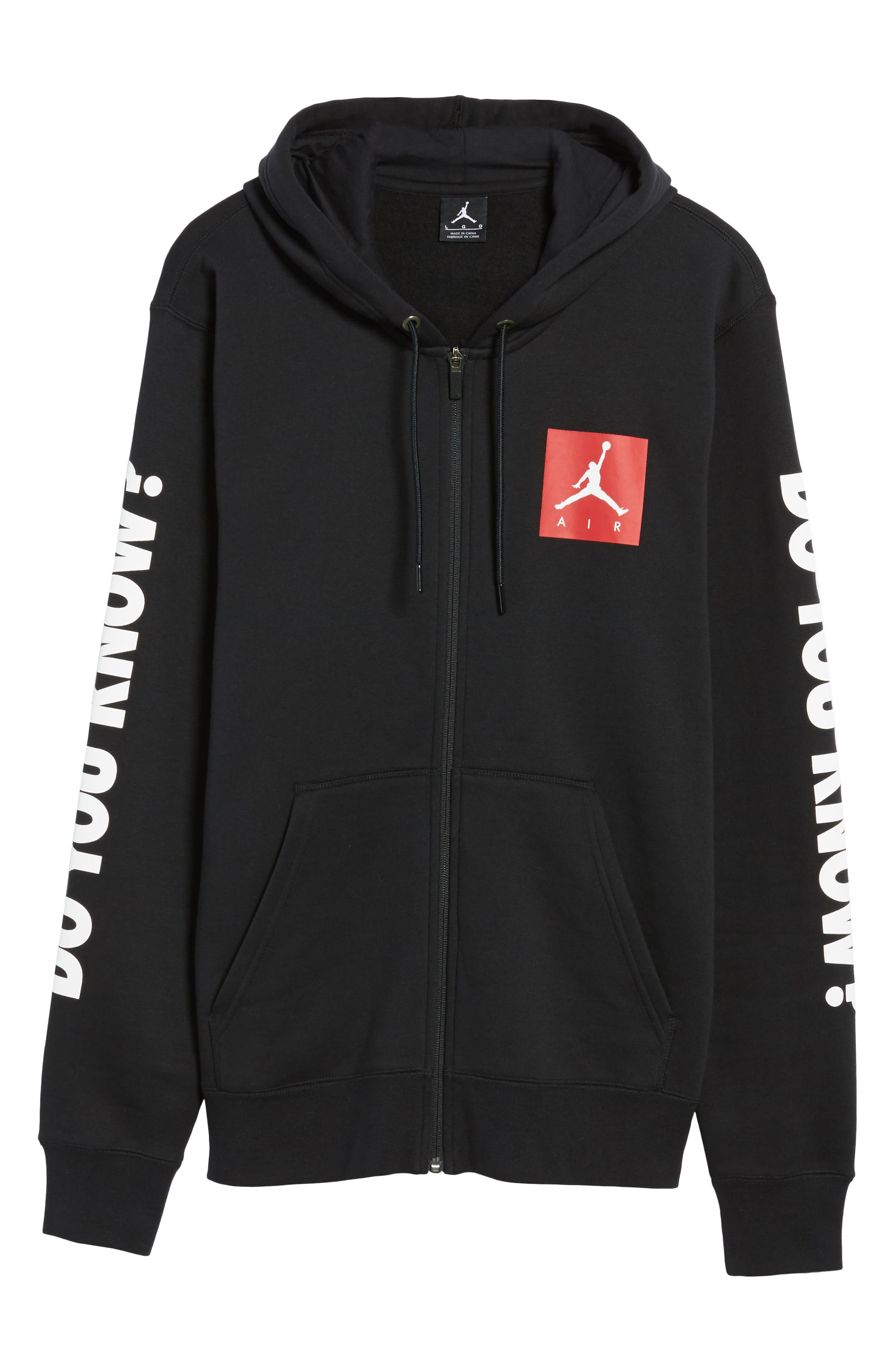 Flight Fleece AJ3 Zip Hoodie,                             Alternate thumbnail 6, color,                             Black/ Gym Red/ White