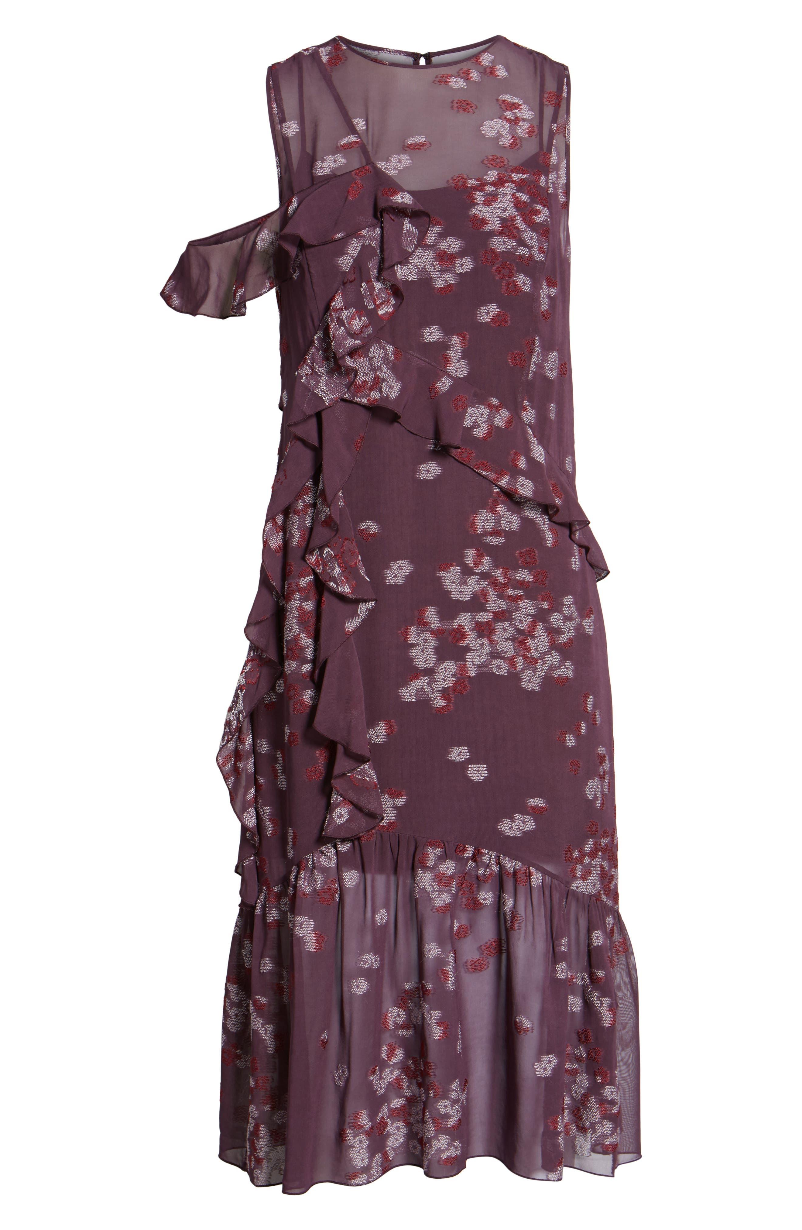 Jacquard Ruffle Dress,                             Alternate thumbnail 6, color,                             Purple Plum Scattered Floral