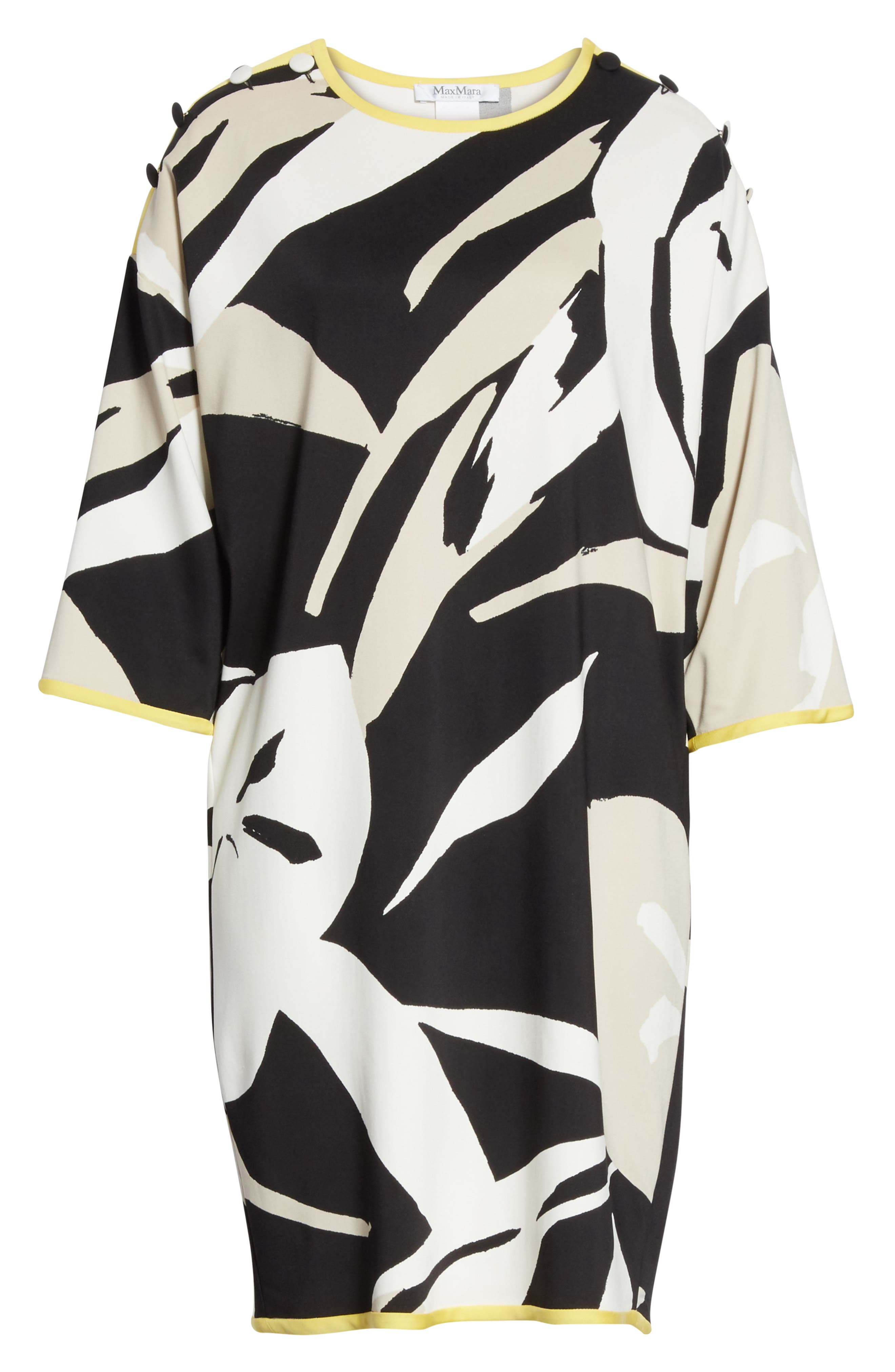 Leva Print Shift Dress,                             Alternate thumbnail 7, color,                             Black